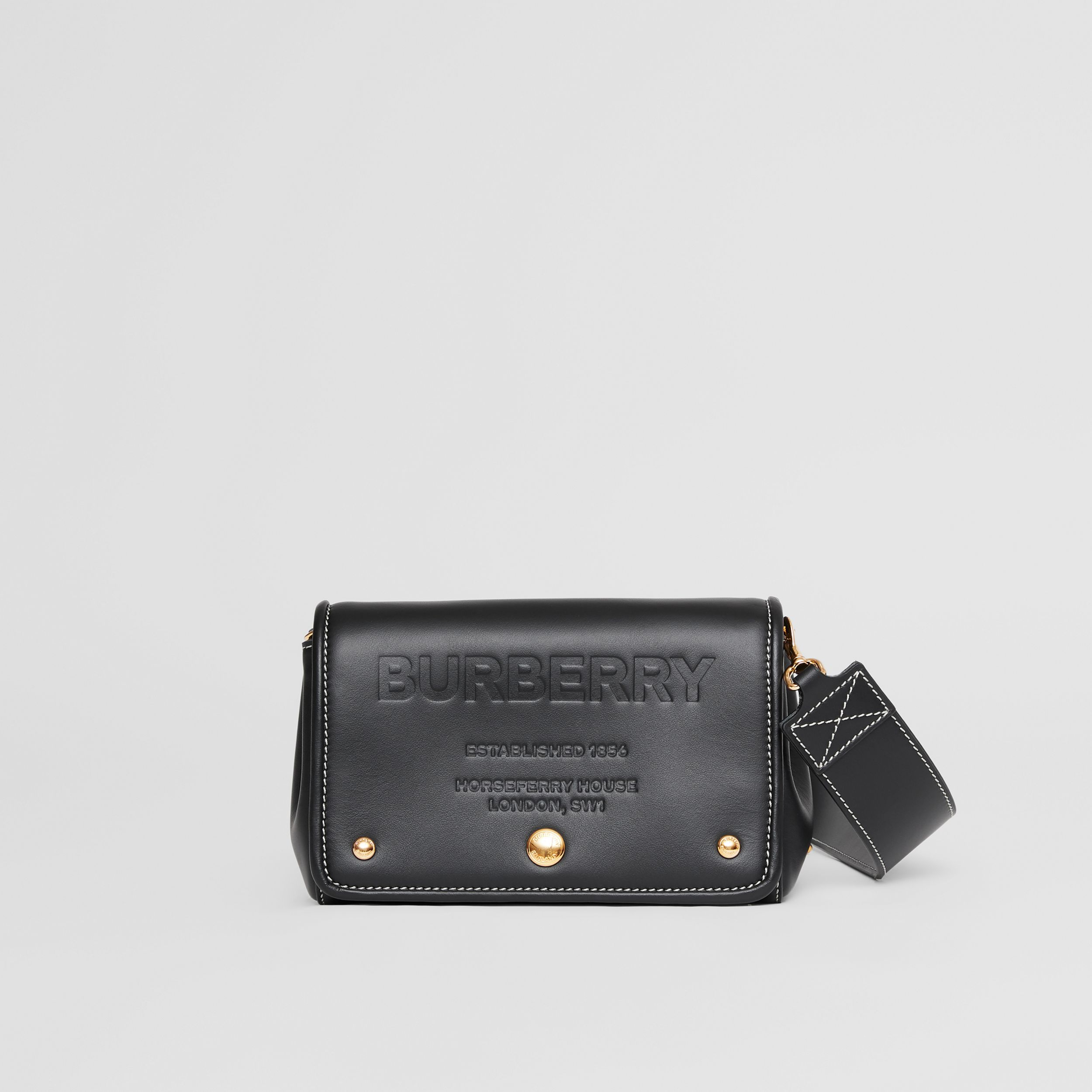 Small Horseferry Leather Crossbody Bag in Black | Burberry Canada - 1