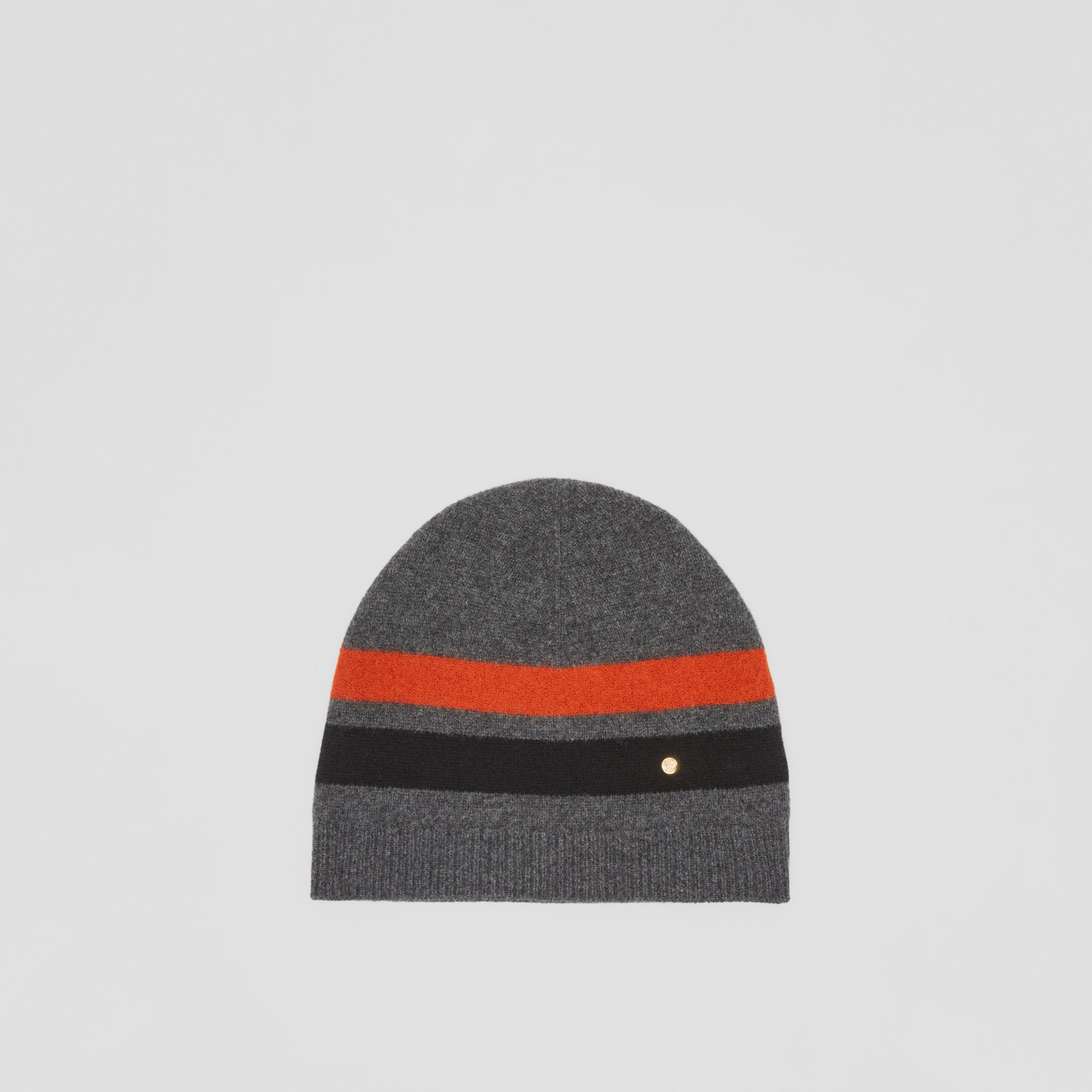 Monogram Motif Merino Wool Cashmere Beanie in Dark Grey | Burberry - 1