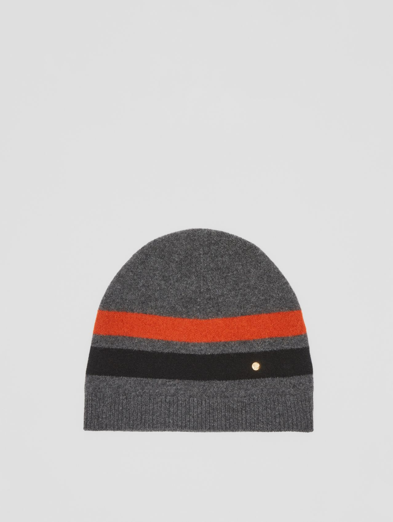 Monogram Motif Merino Wool Cashmere Beanie in Dark Grey