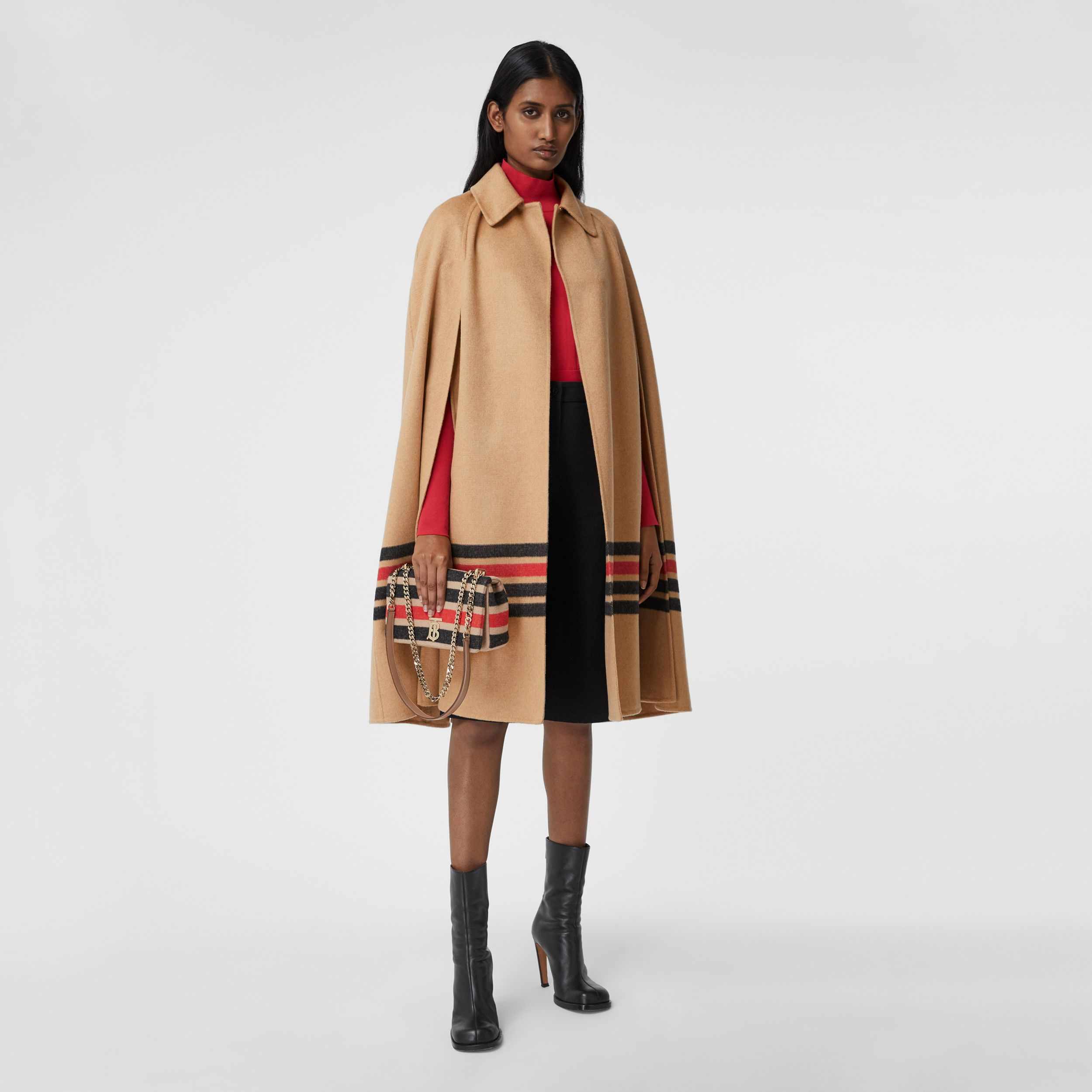 Stripe Detail Double-faced Cashmere Cape in Light Camel - Women | Burberry - 1