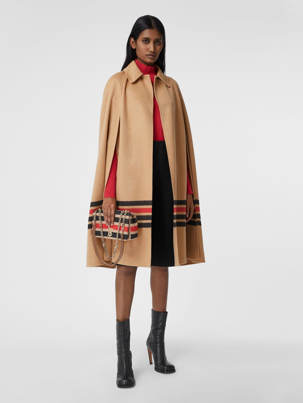Stripe Detail Double-faced Cashmere Cape in Light Camel