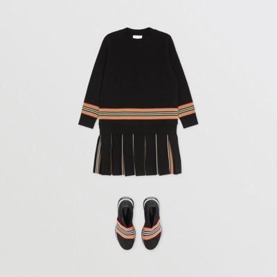 Icon Stripe Panel Merino Wool Sweater   Burberry