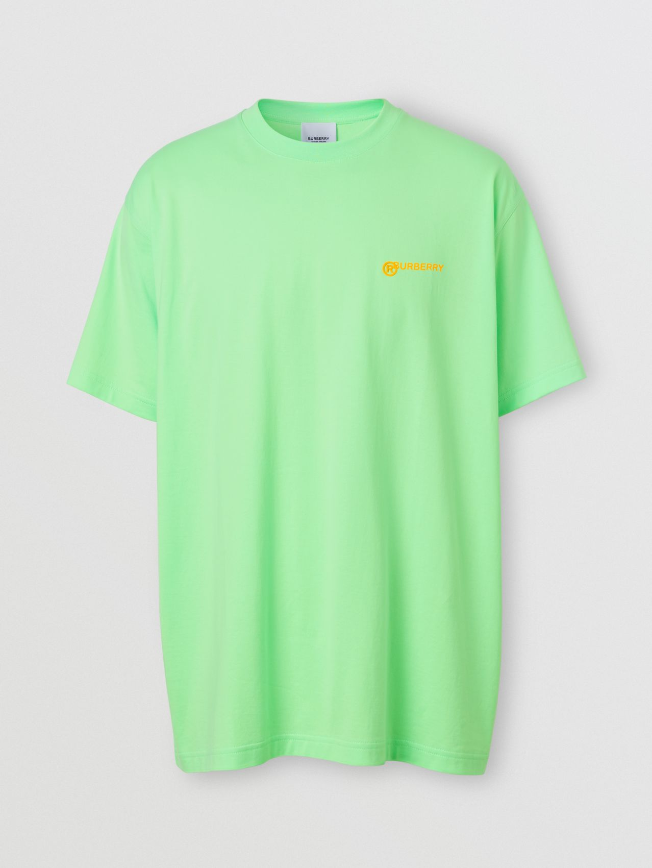 Slogan Print Cotton Oversized T-shirt in Neon Green