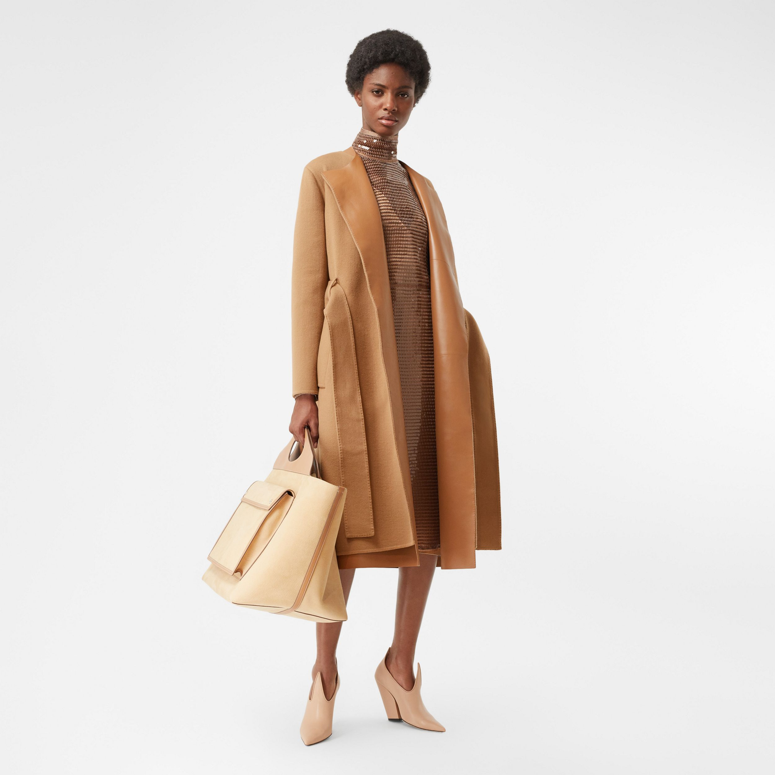 Double-faced Cashmere and Lambskin Wrap Coat in Camel - Women | Burberry - 1