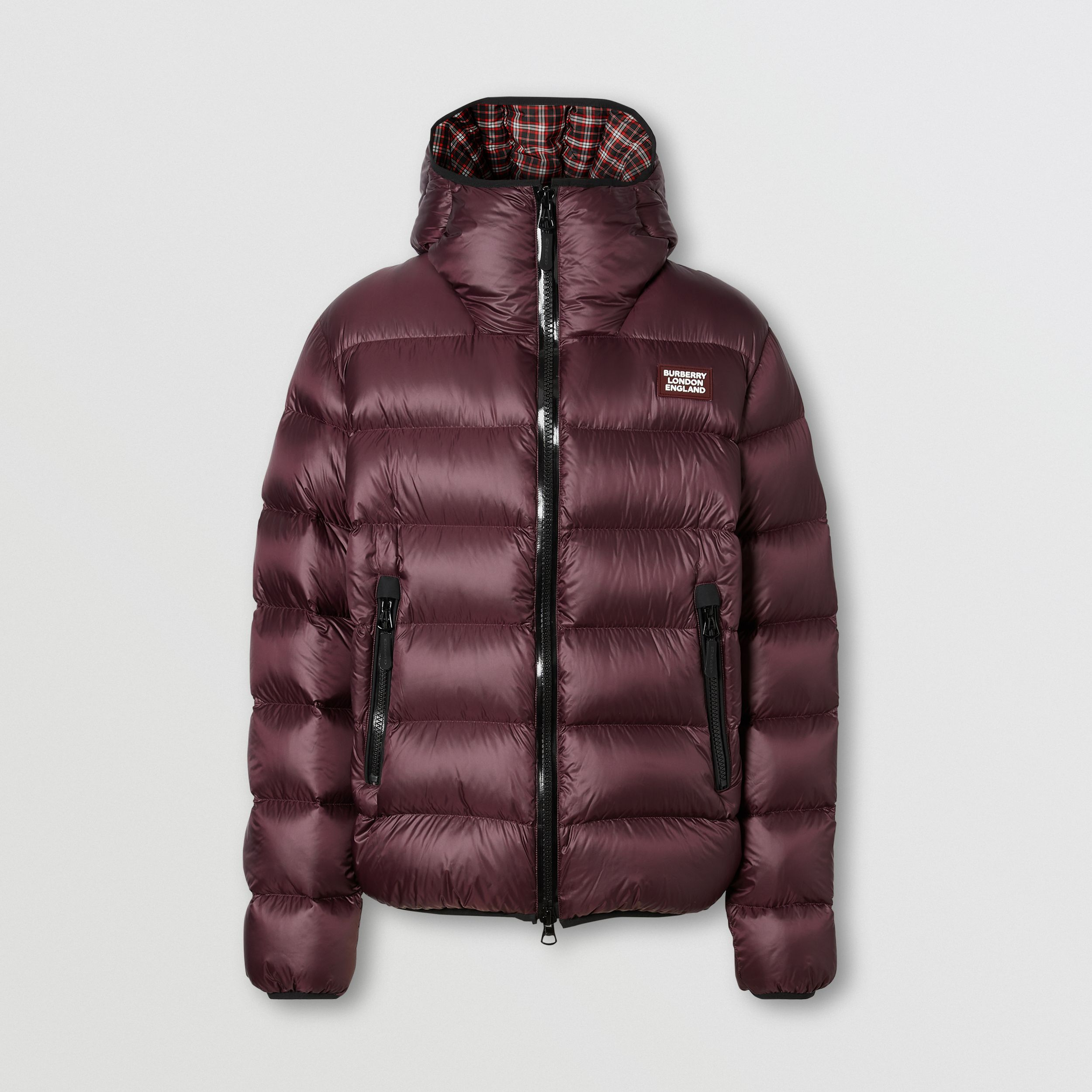 Logo Appliqué Hooded Puffer Jacket in Dark Plum | Burberry - 4