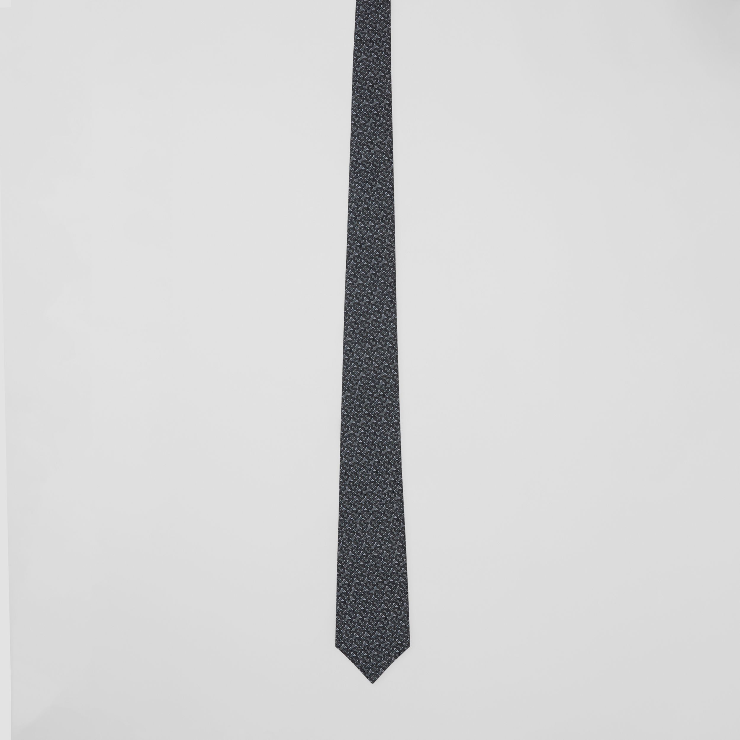 Classic Cut Monogram Silk Jacquard Tie in Mid Grey - Men | Burberry - 4