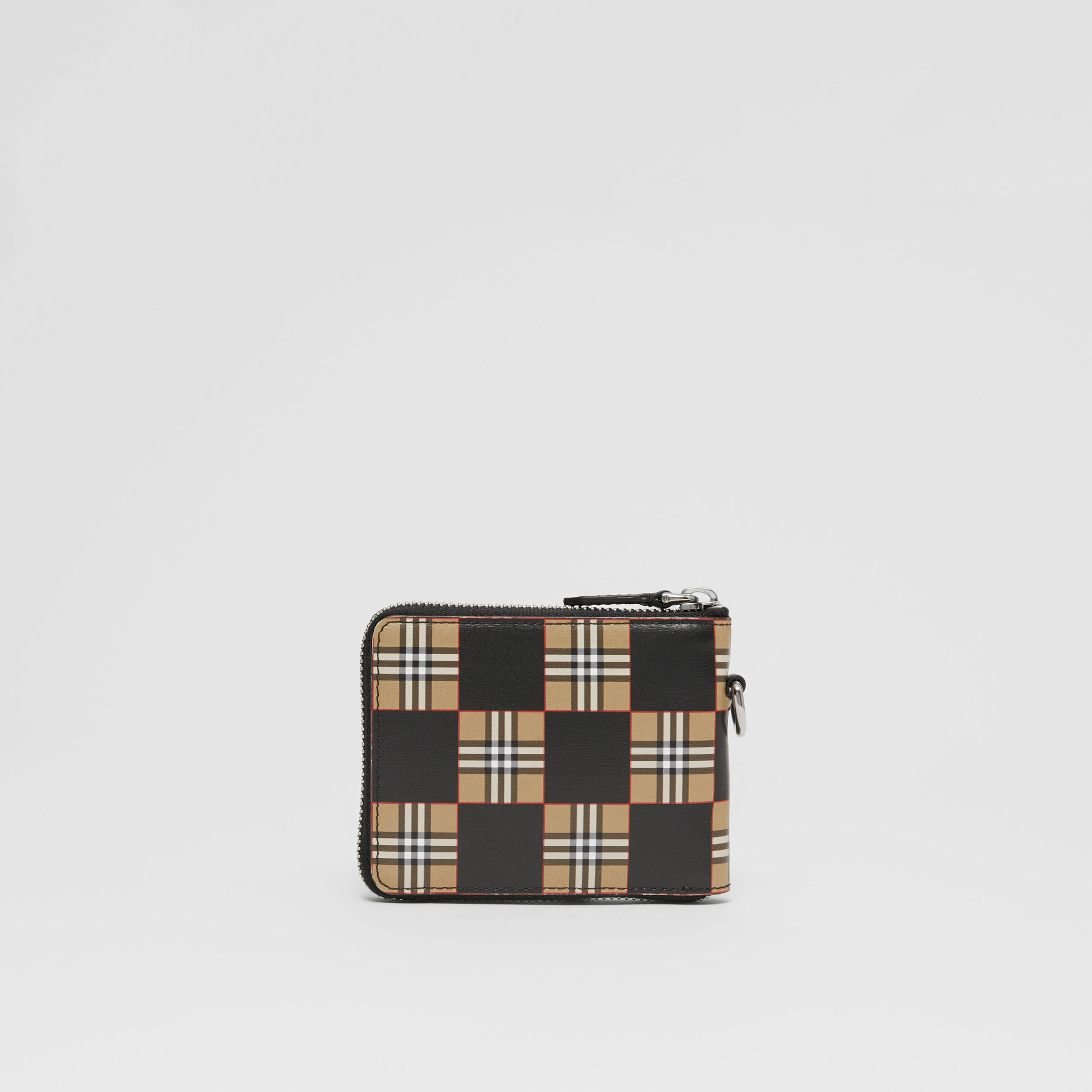 Chequer Print Leather Ziparound Wallet in Archive Beige/black - Men | Burberry Canada - 4