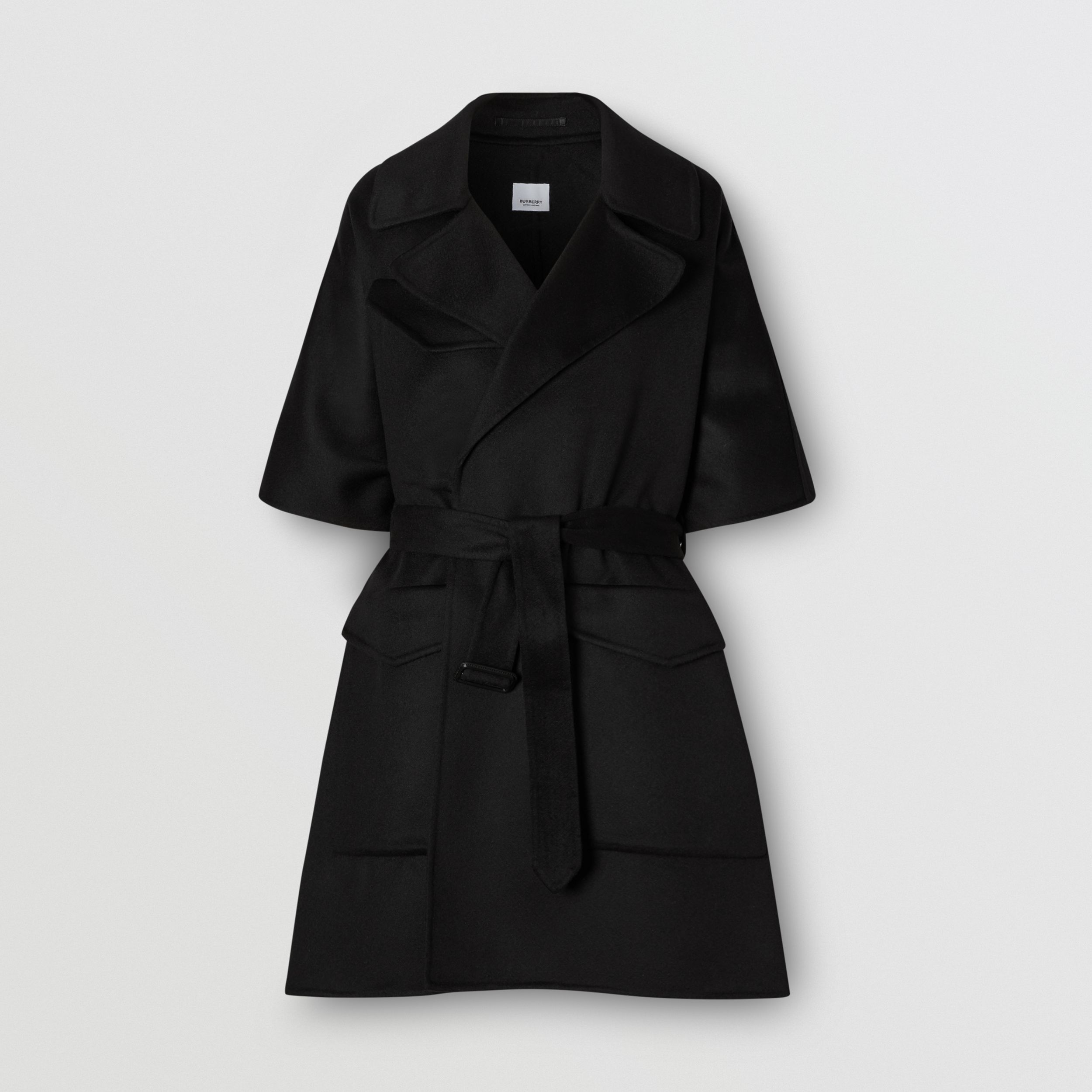 Double-faced Cashmere Belted Cape in Black - Women | Burberry - 4