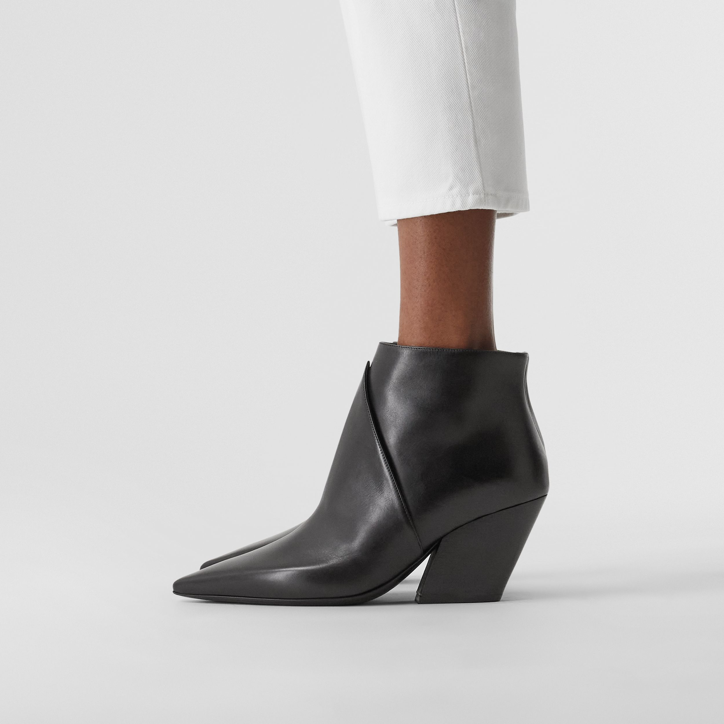 Leather Ankle Boots in Black - Women | Burberry - 3