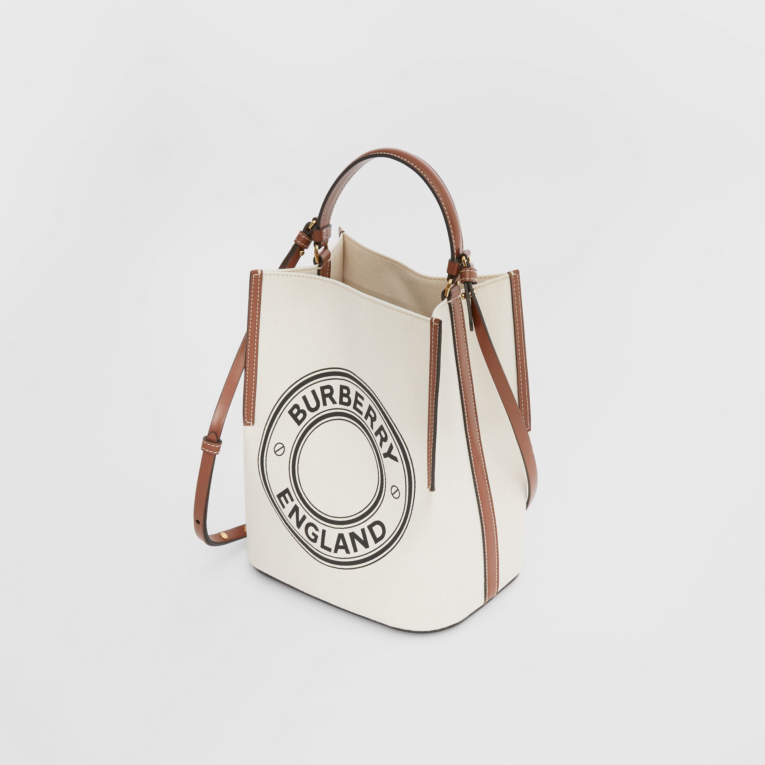Small Logo Graphic Cotton Canvas Peggy Bucket Bag in Natural - Women | Burberry - 4