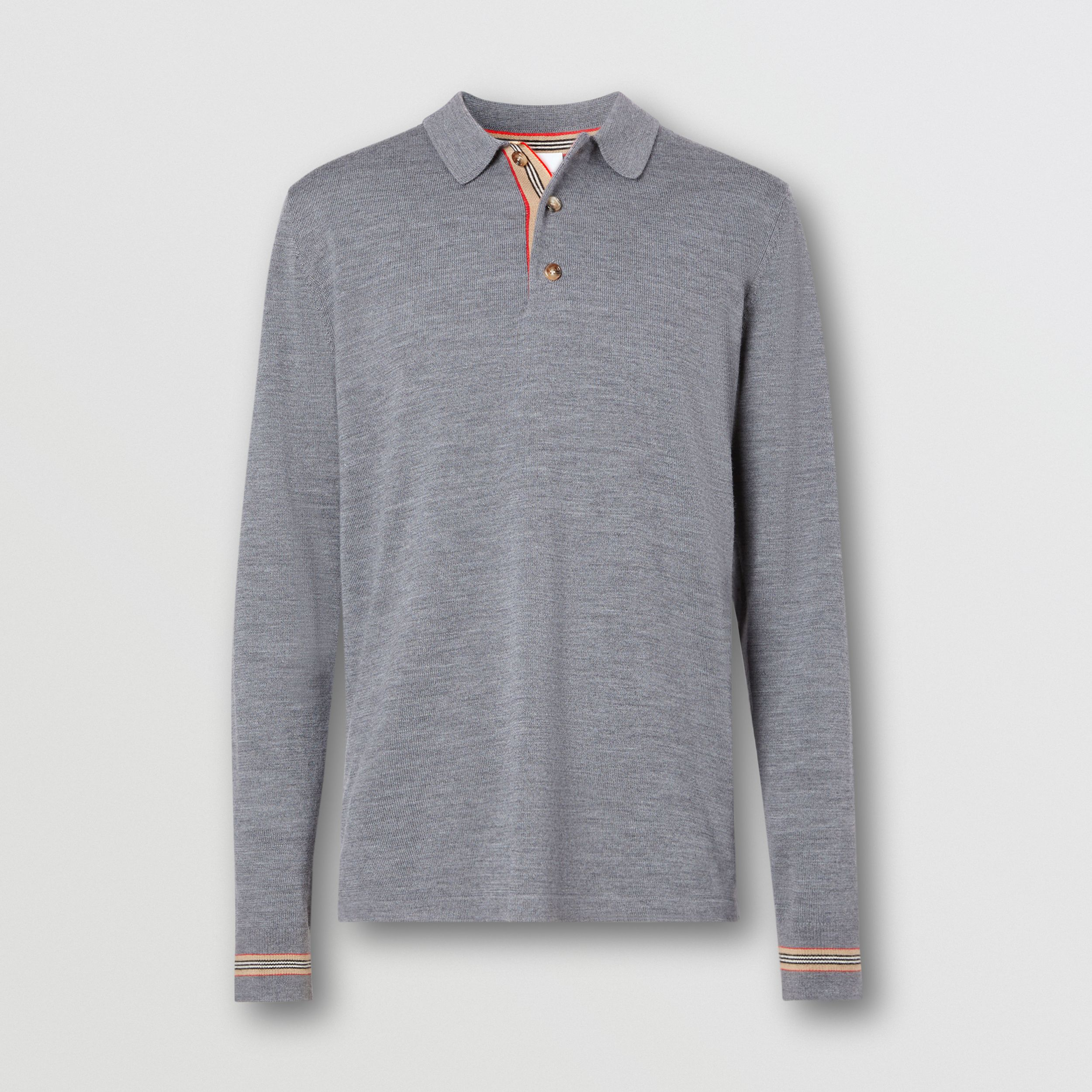 Long-sleeve Icon Stripe Detail Merino Wool Polo Shirt in Mid Grey Melange - Men | Burberry - 4