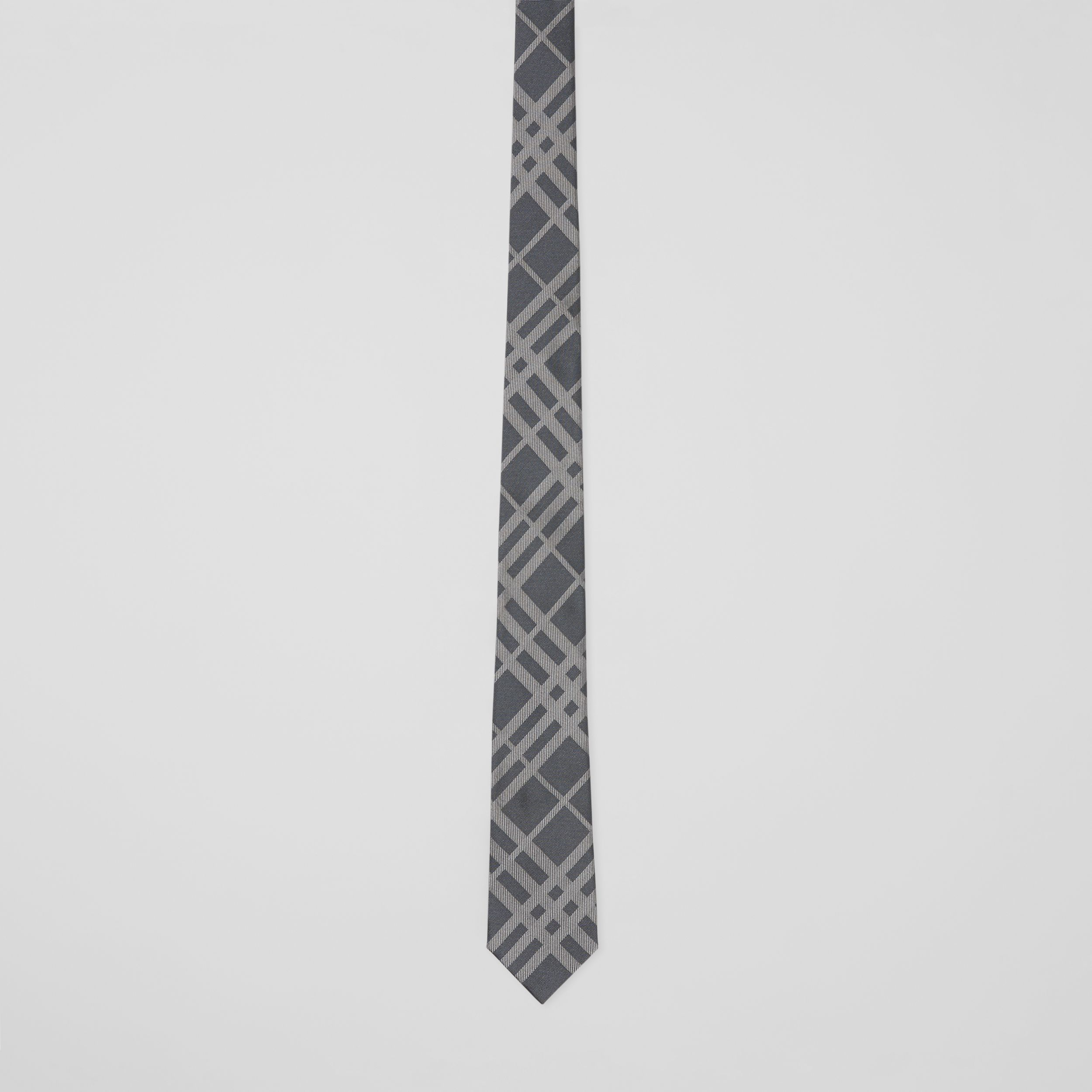 Classic Cut Check Silk Jacquard Tie in Mid Grey - Men | Burberry - 4