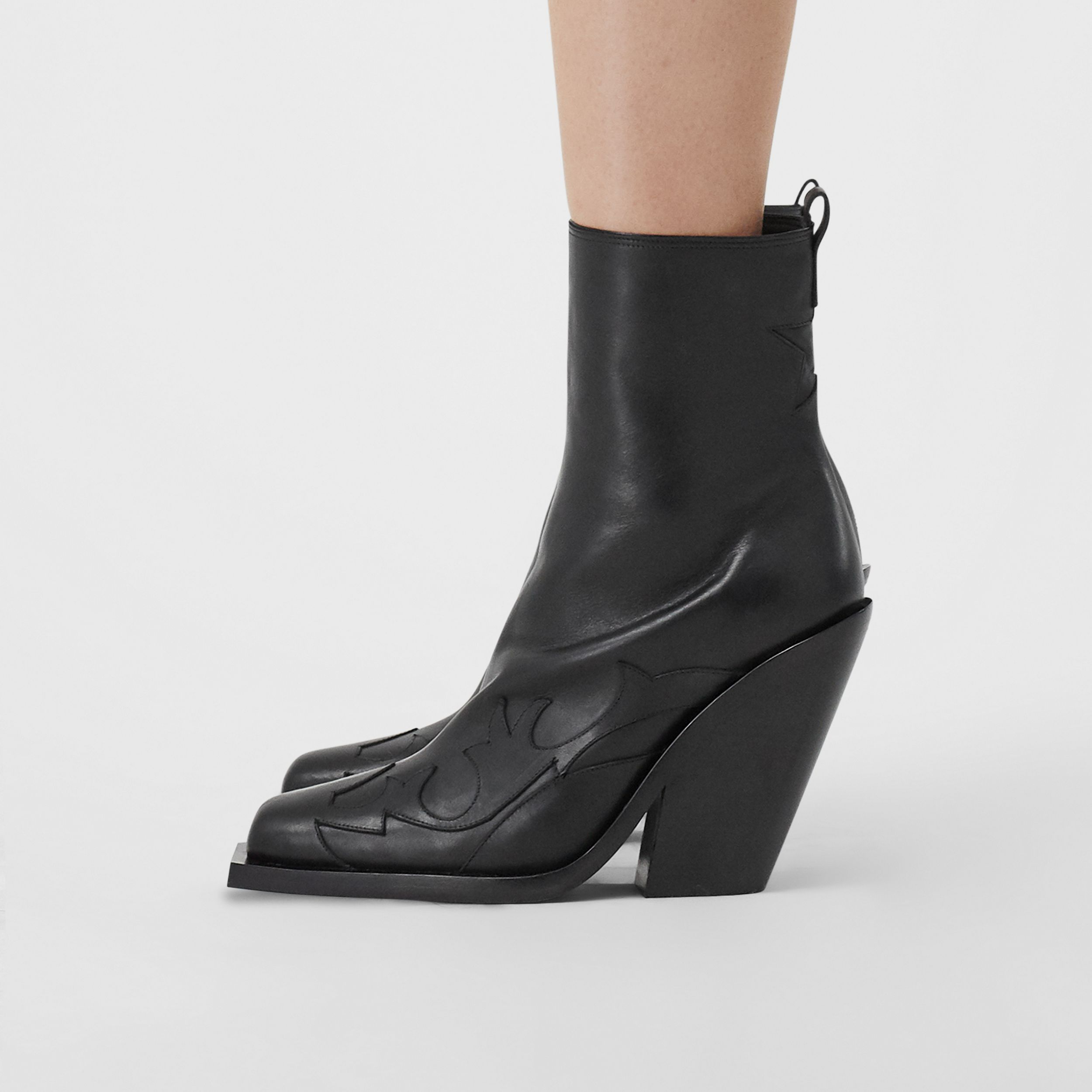Star Detail Leather Block-heel Ankle Boots in Black - Women | Burberry United Kingdom - 3