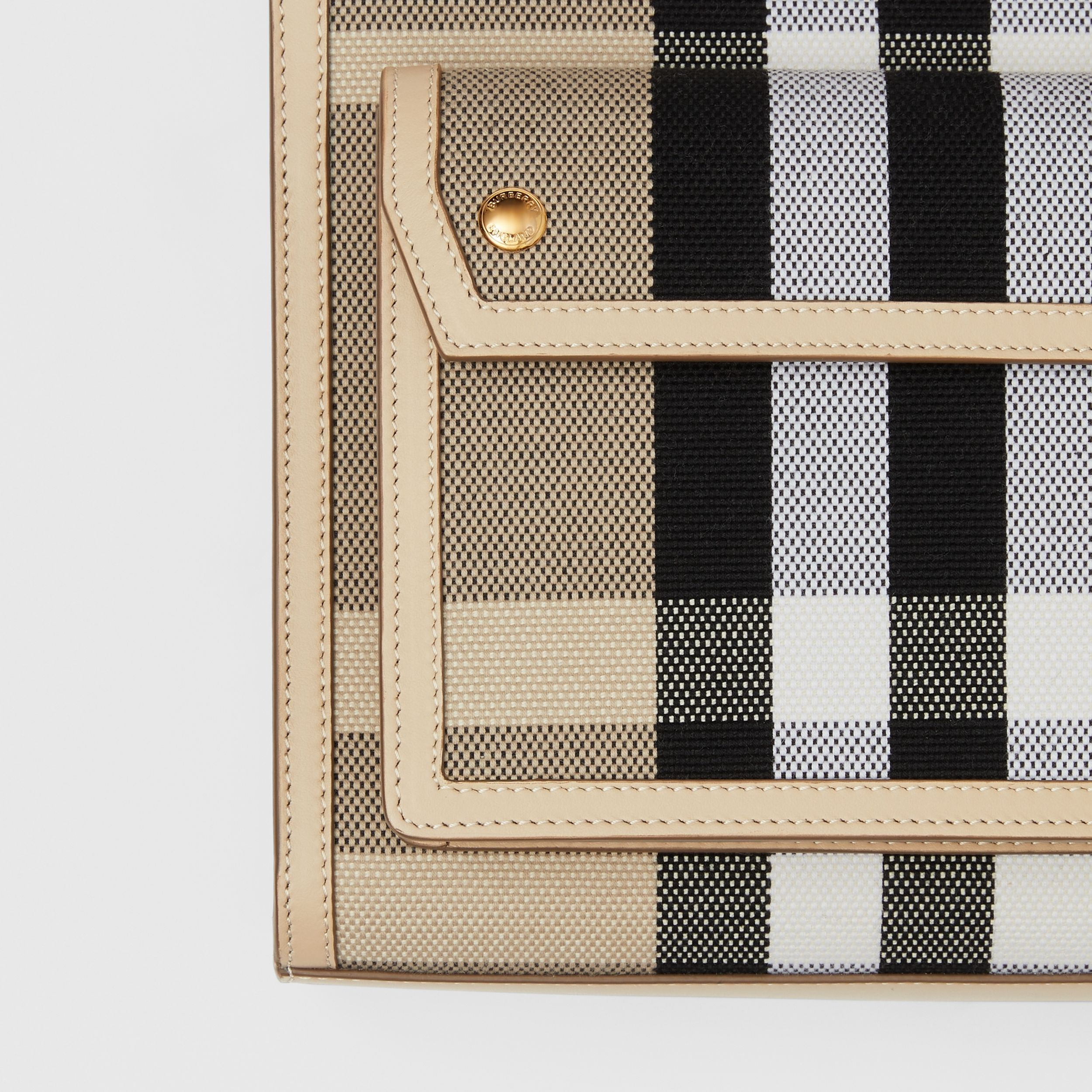 Mini Check Canvas and Leather Pocket Bag in Dusty Sand/soft Fawn - Women | Burberry Singapore - 2