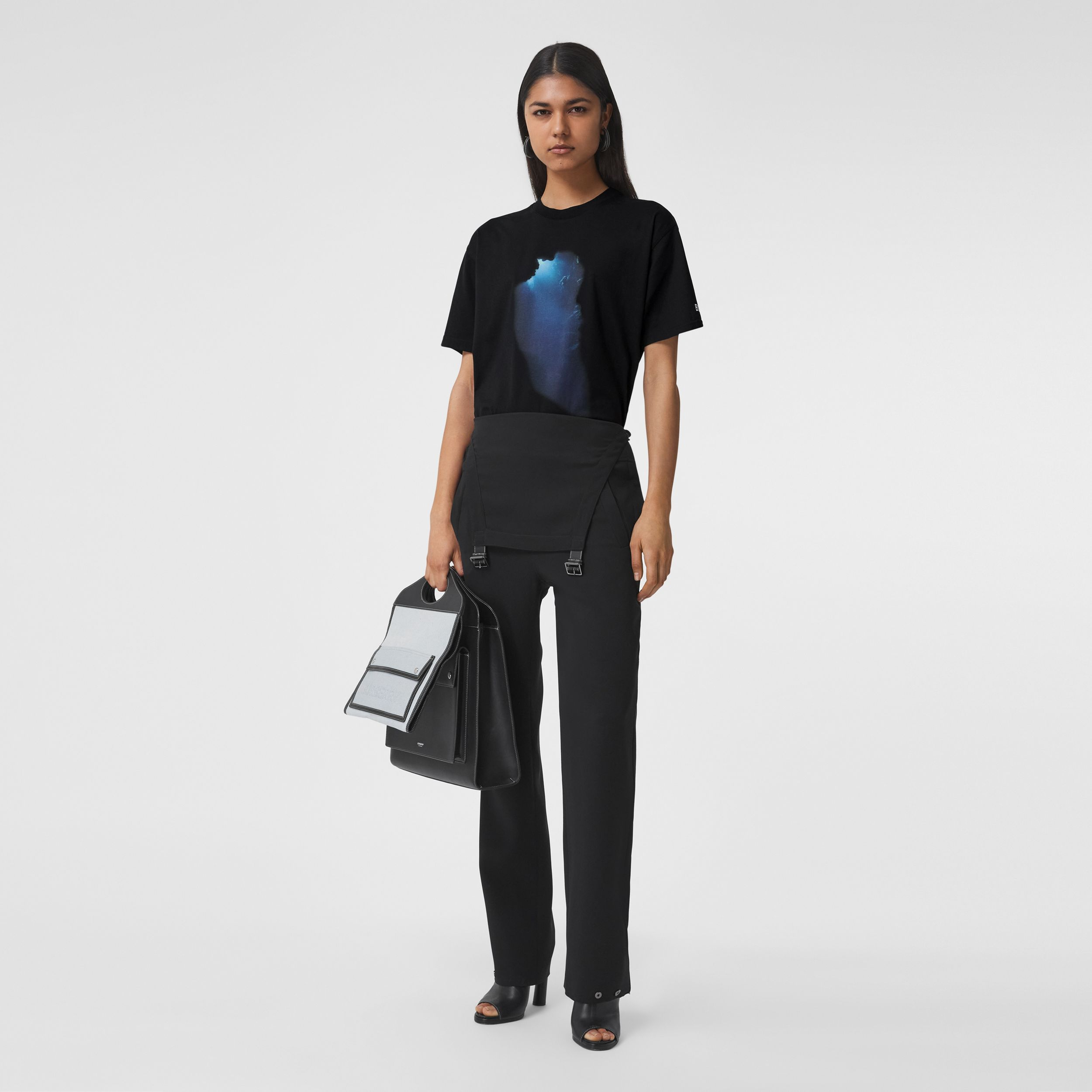 Montage Print Cotton Oversized T-shirt in Black - Women | Burberry - 1