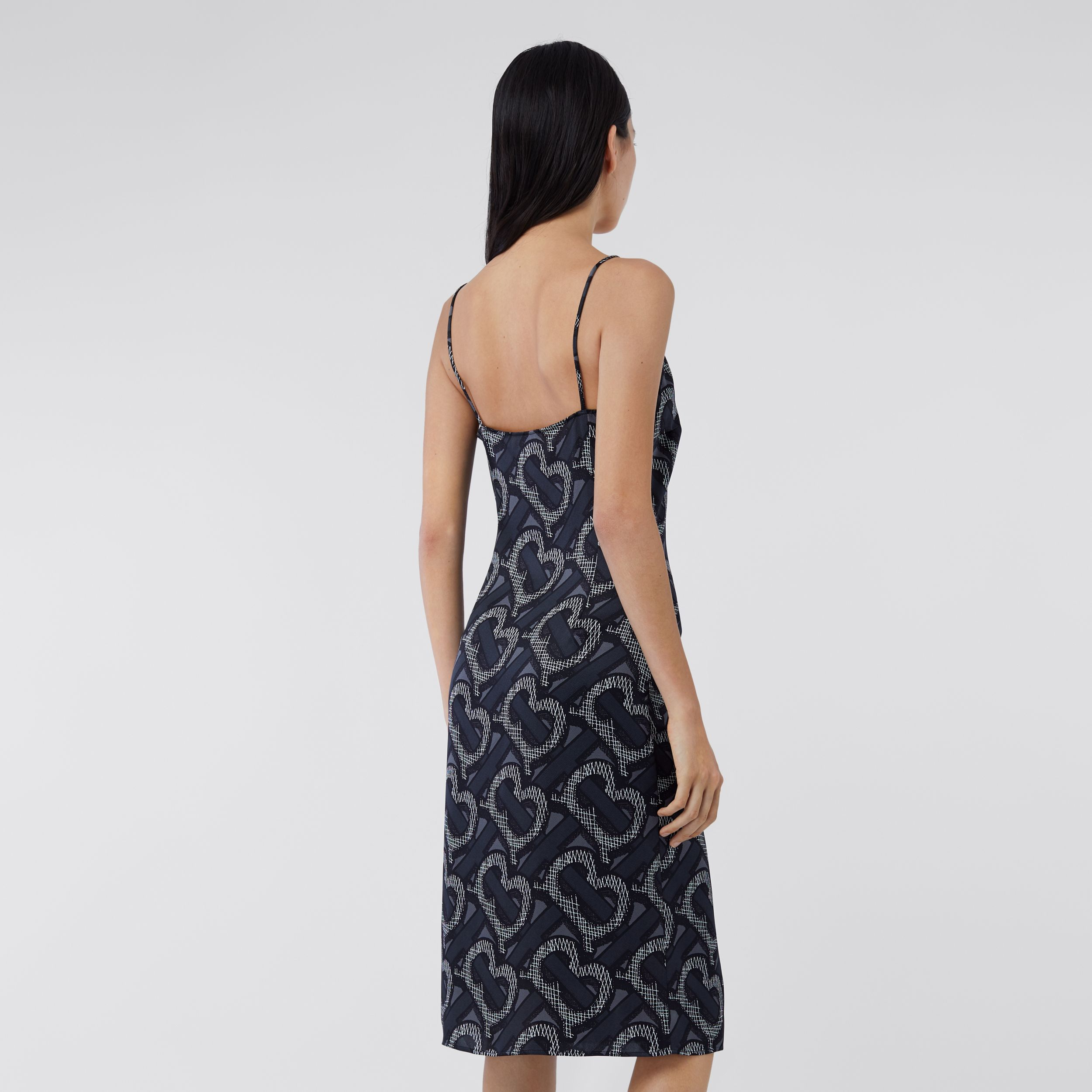 Monogram Print Silk Satin Slip Dress in Graphite - Women | Burberry - 3
