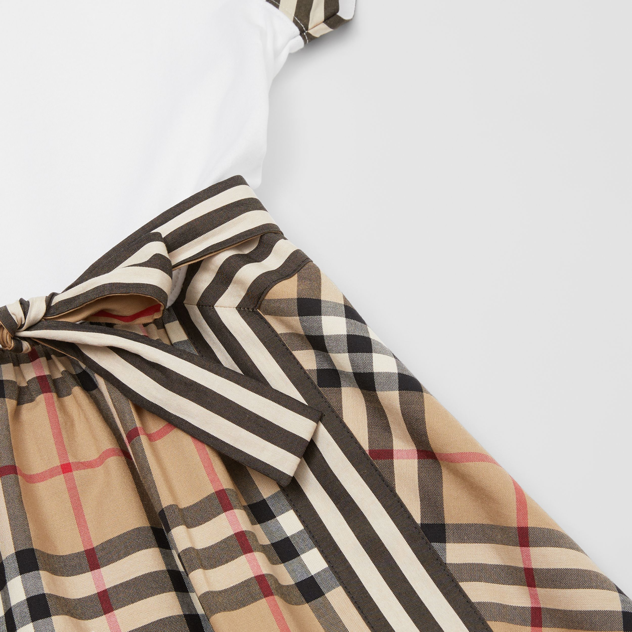 Vintage Check Detail Cotton Dress in Archive Beige | Burberry - 2