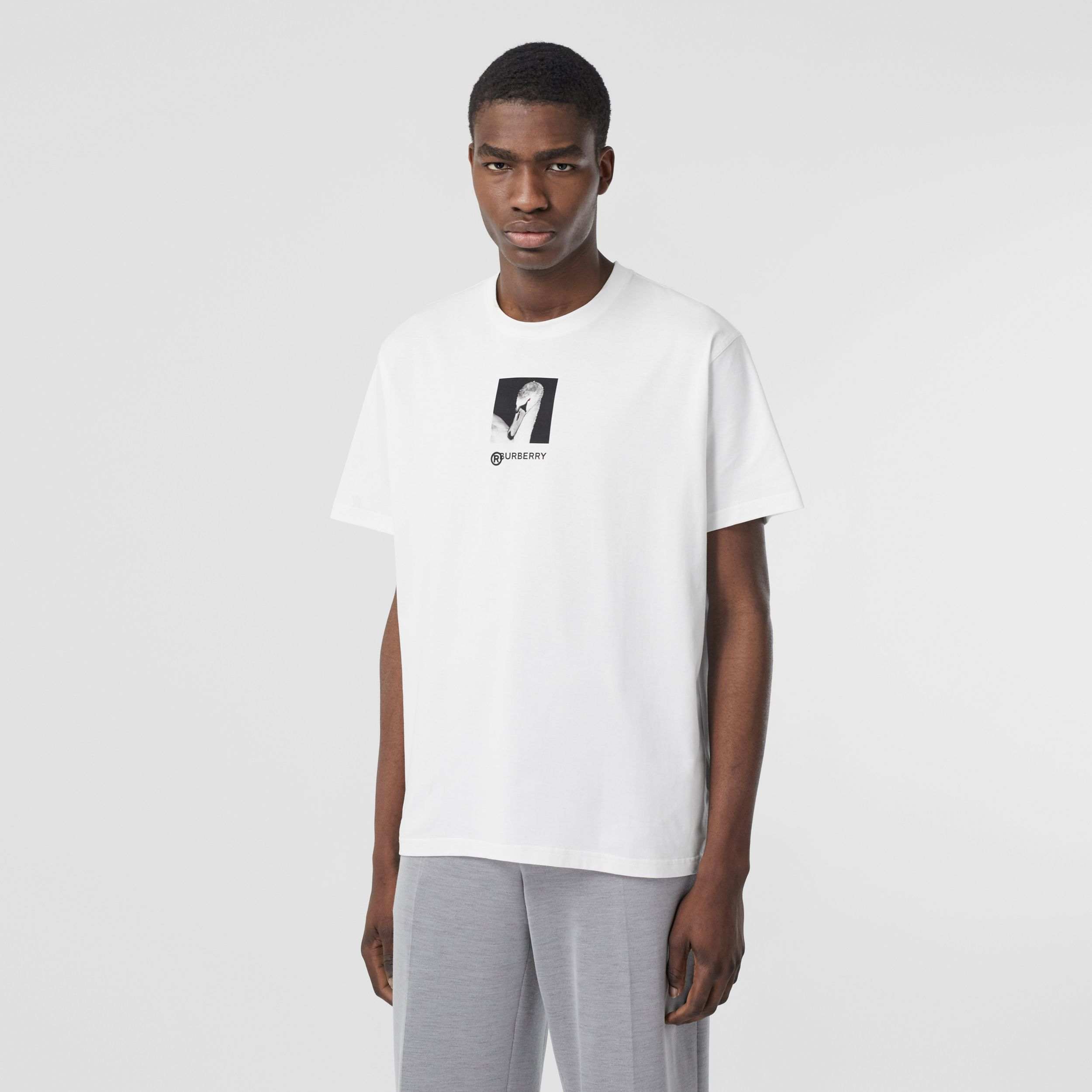 Swan and Logo Print Cotton Oversized T-shirt in Optic White - Men | Burberry - 1