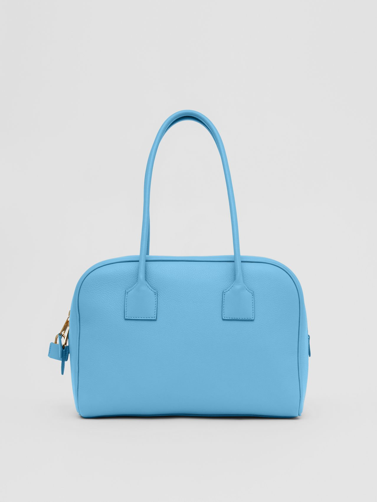 Medium Leather Half Cube Bag in Blue Topaz