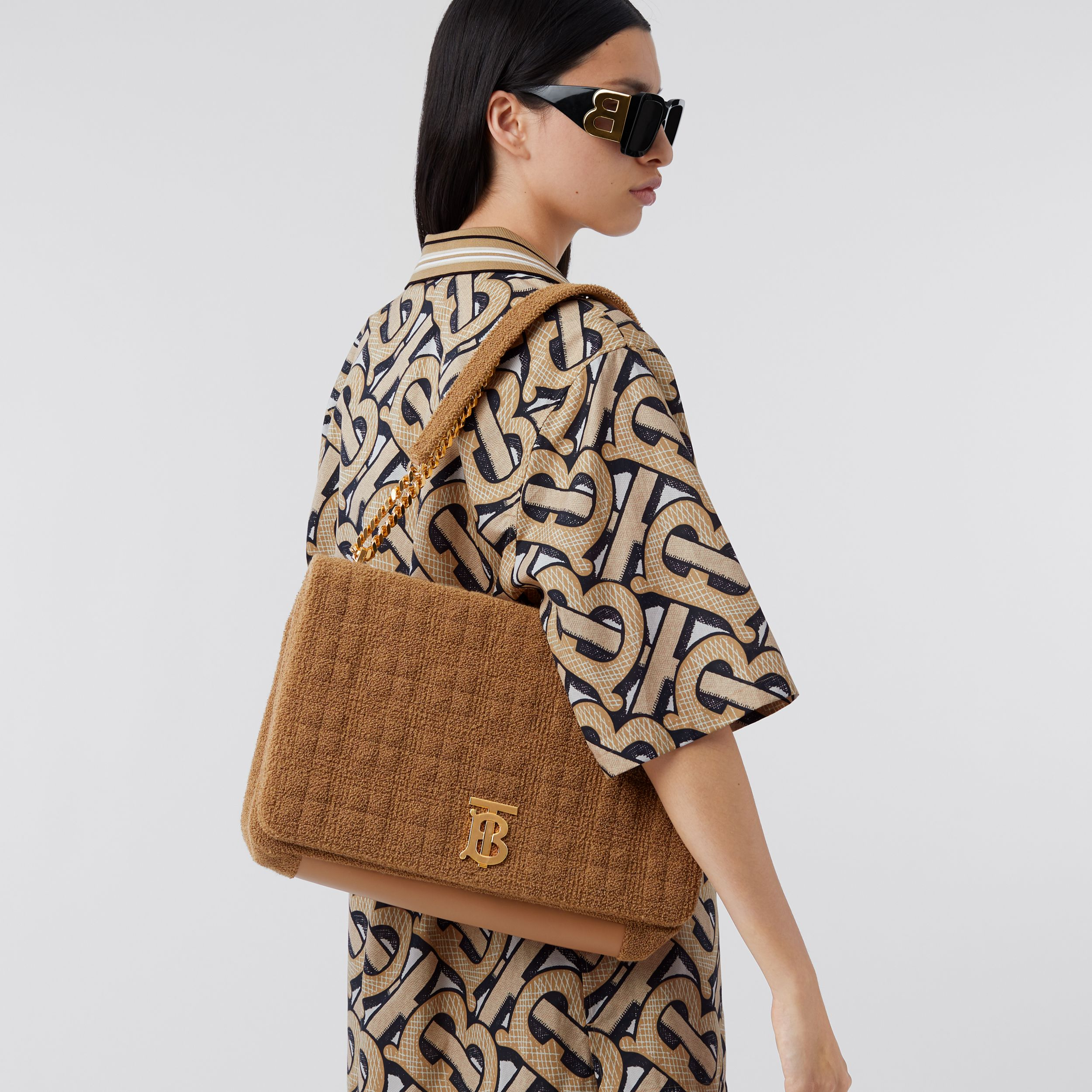 Extra Large Quilted Towelling Lola Bag in Camel - Women | Burberry - 3