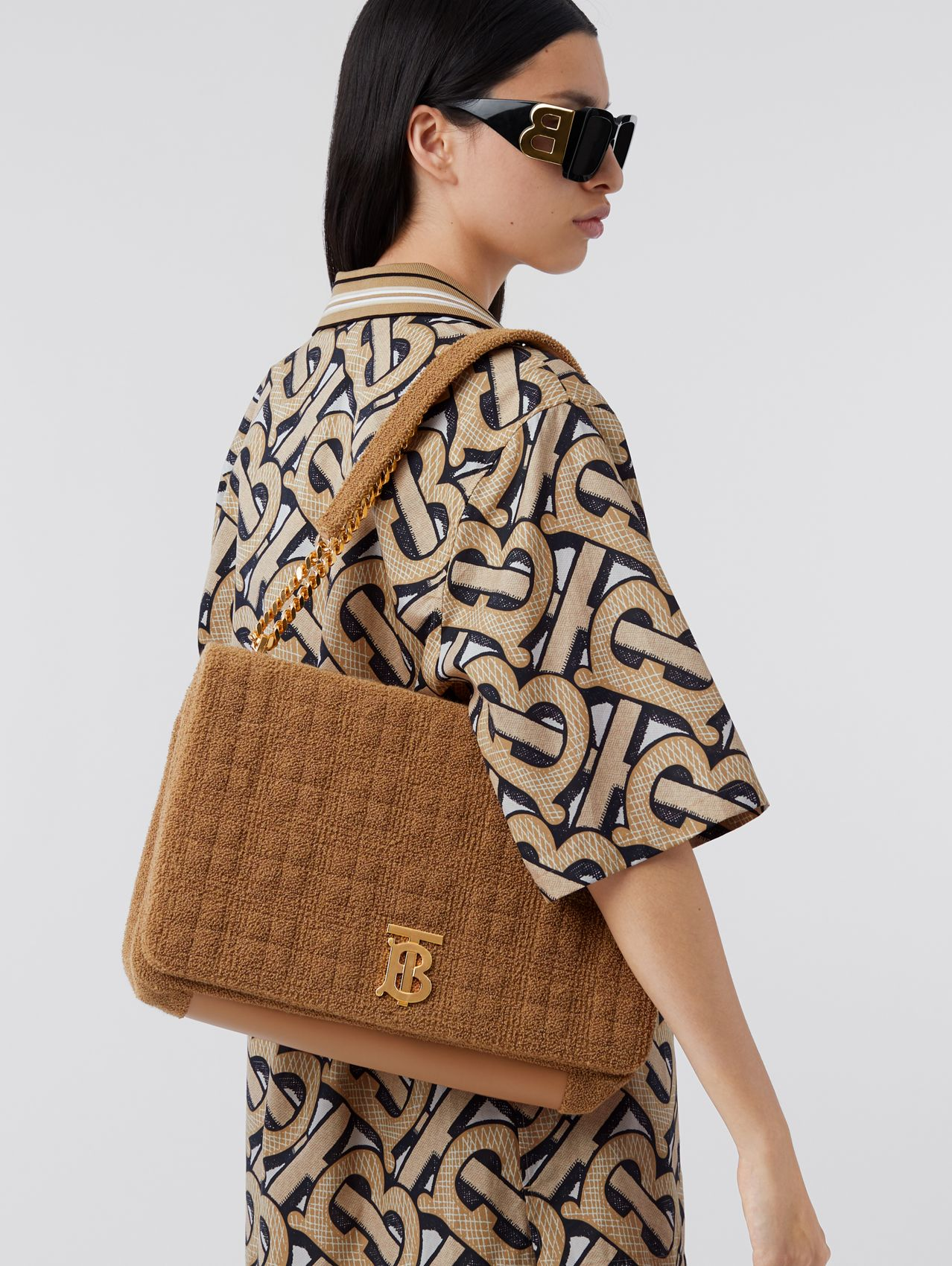 Extra Large Quilted Towelling Lola Bag in Camel