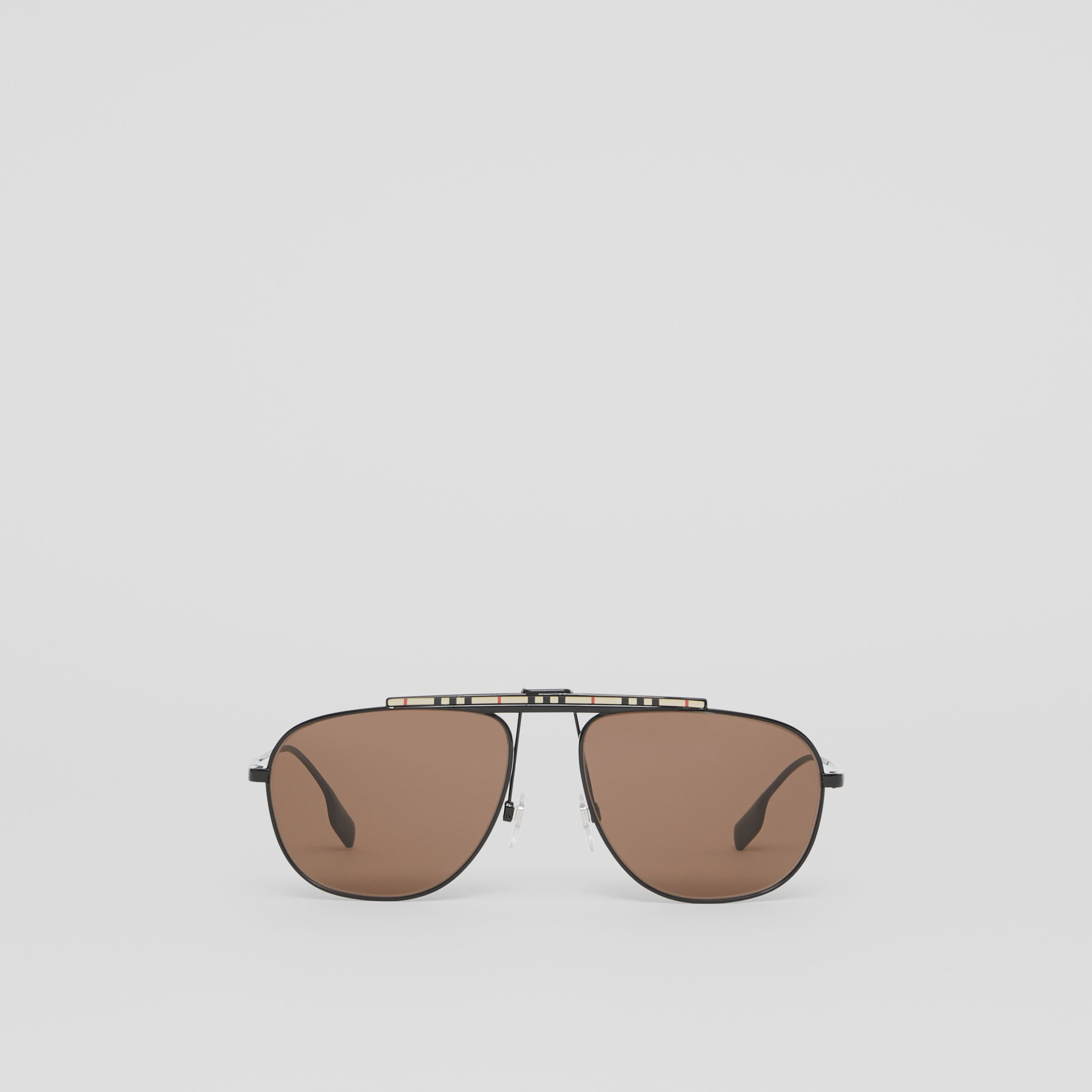 Icon Stripe Detail Pilot Sunglasses in Black - Men | Burberry - 1