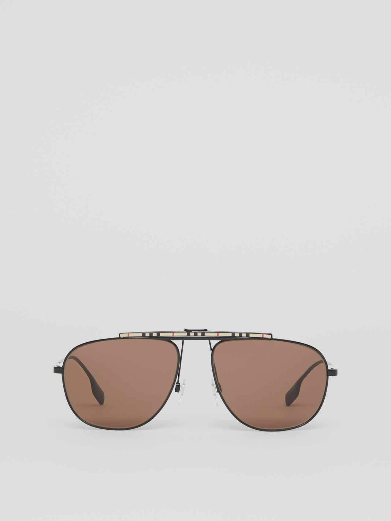 Icon Stripe Detail Pilot Sunglasses in Black
