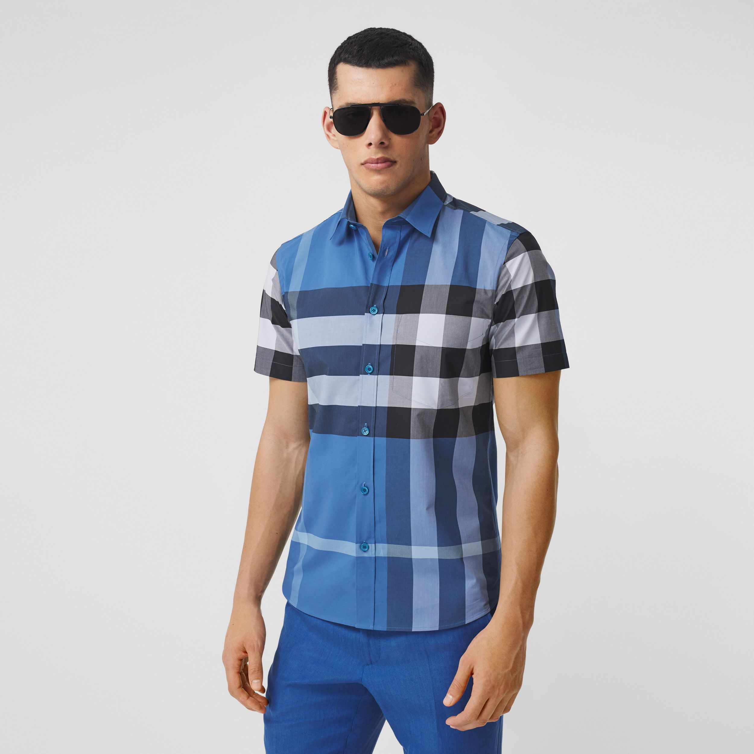 Short-sleeve Check Stretch Cotton Poplin Shirt in Dark Cerulean Blue - Men | Burberry Singapore - 1