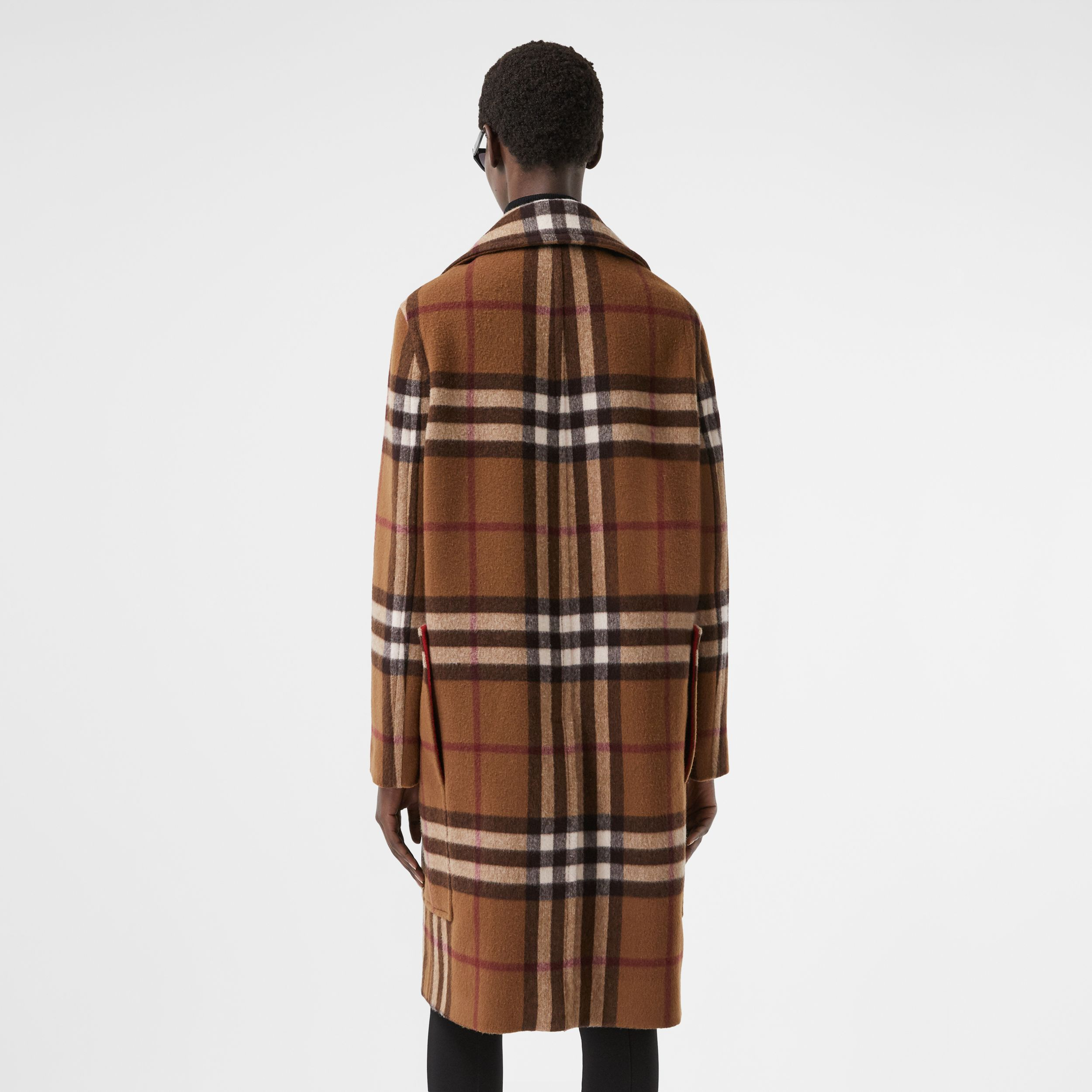 Check Wool Tailored Coat in Birch Brown - Women | Burberry - 3