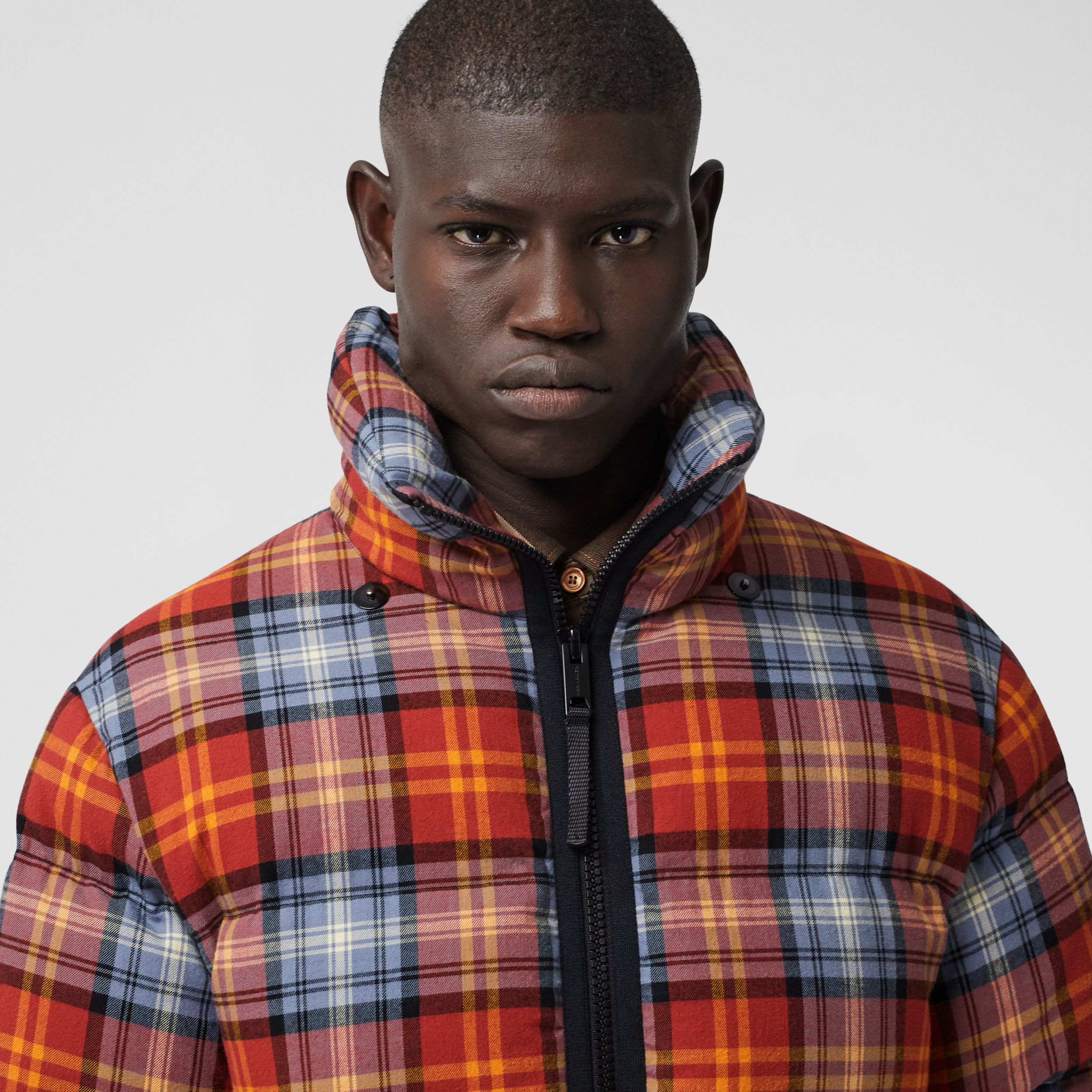 Detachable Hood Check Cotton Flannel Puffer Jacket in Multicolour | Burberry Australia - 2