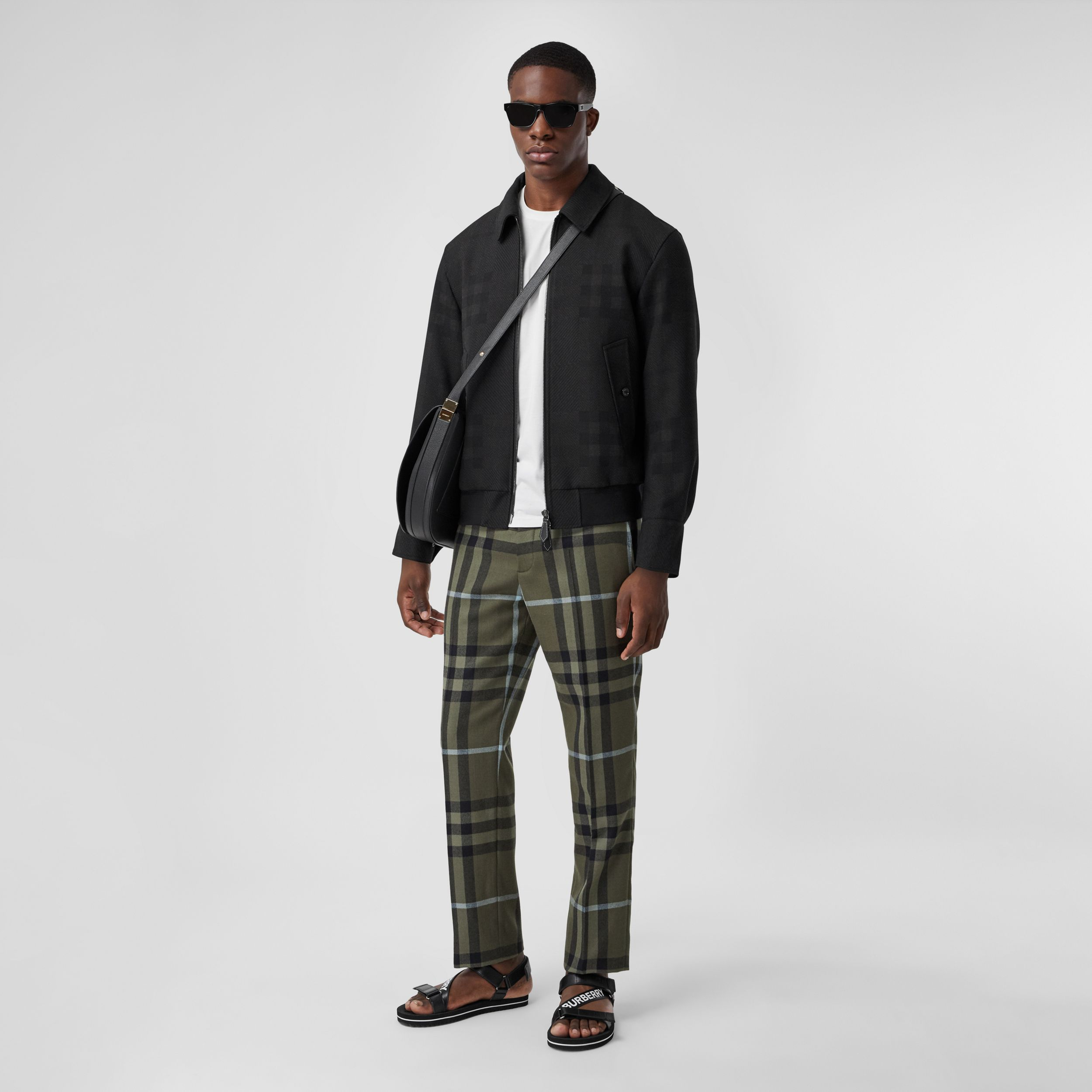 Check Wool Jacquard Harrington Jacket in Charcoal Black - Men | Burberry Australia - 1