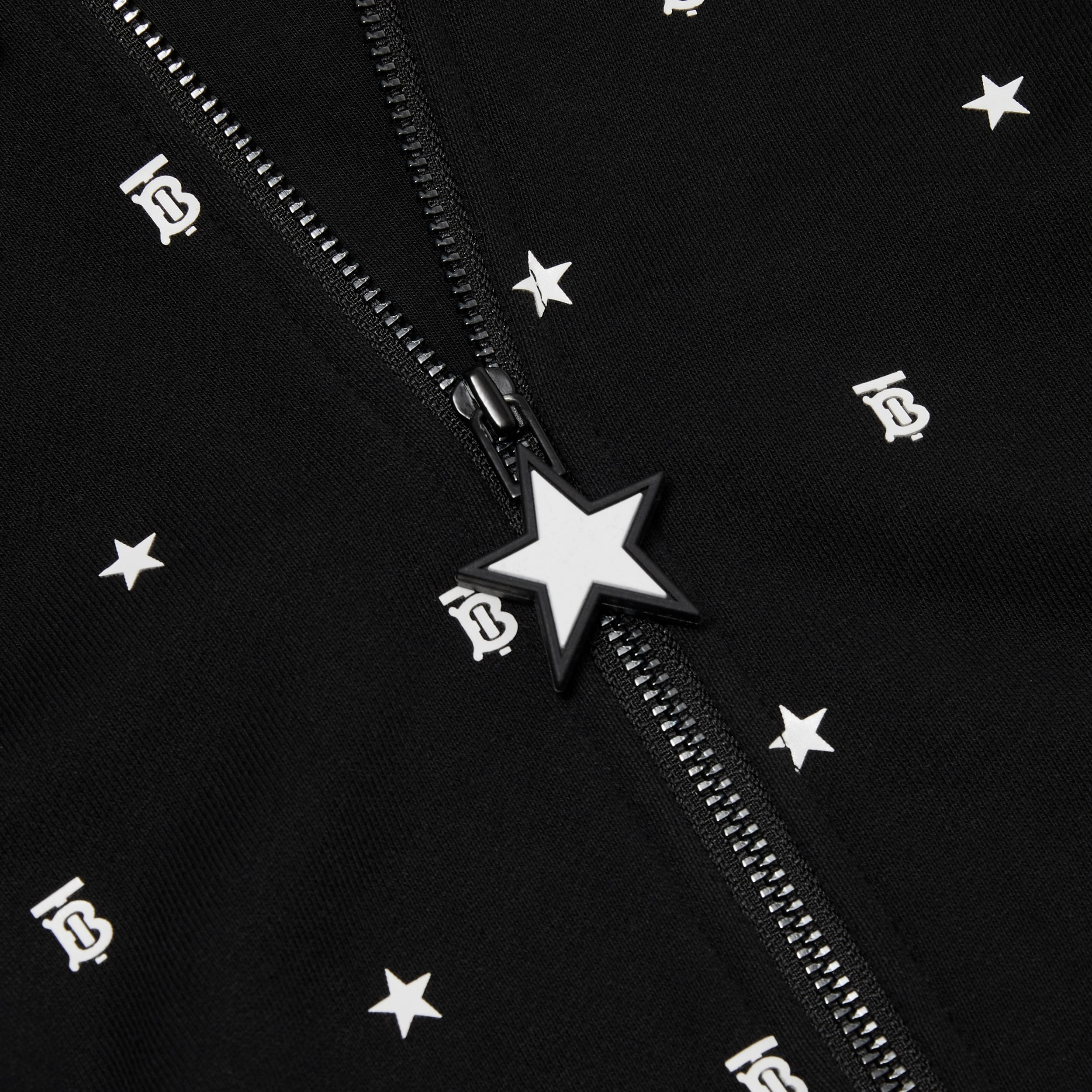 Star and Monogram Motif Cotton Hooded Top in Black - Children | Burberry - 2