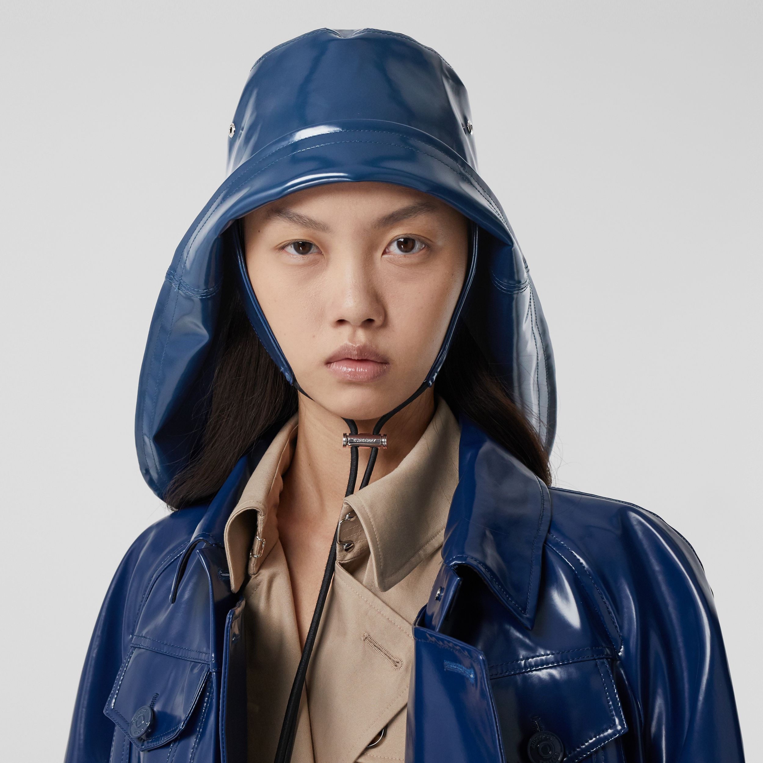 Logo Print Rubberised Cotton Fisherman Hat in Ink Blue | Burberry United States - 3