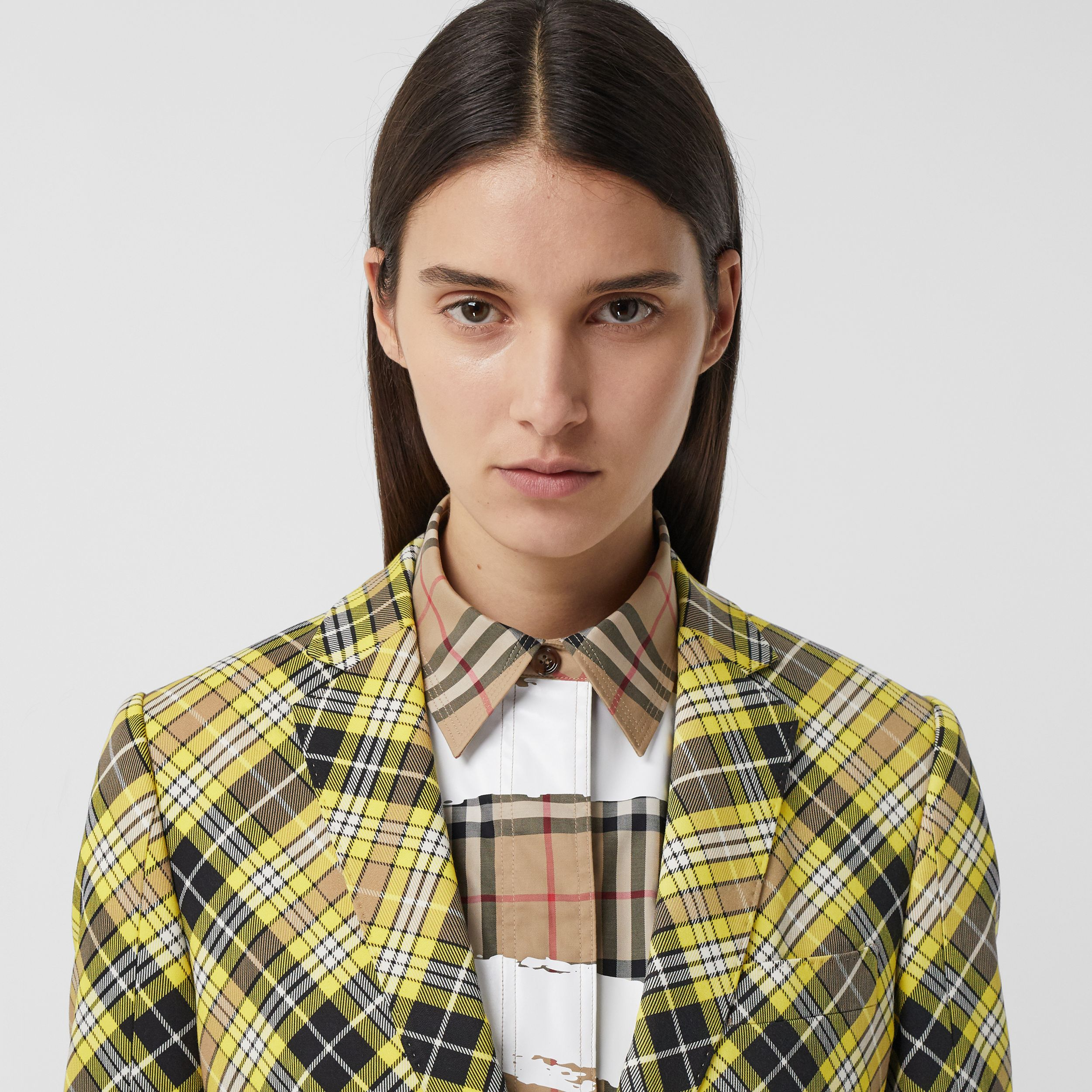 Check Technical Wool Tailored Jacket in Marigold Yellow - Women | Burberry - 2