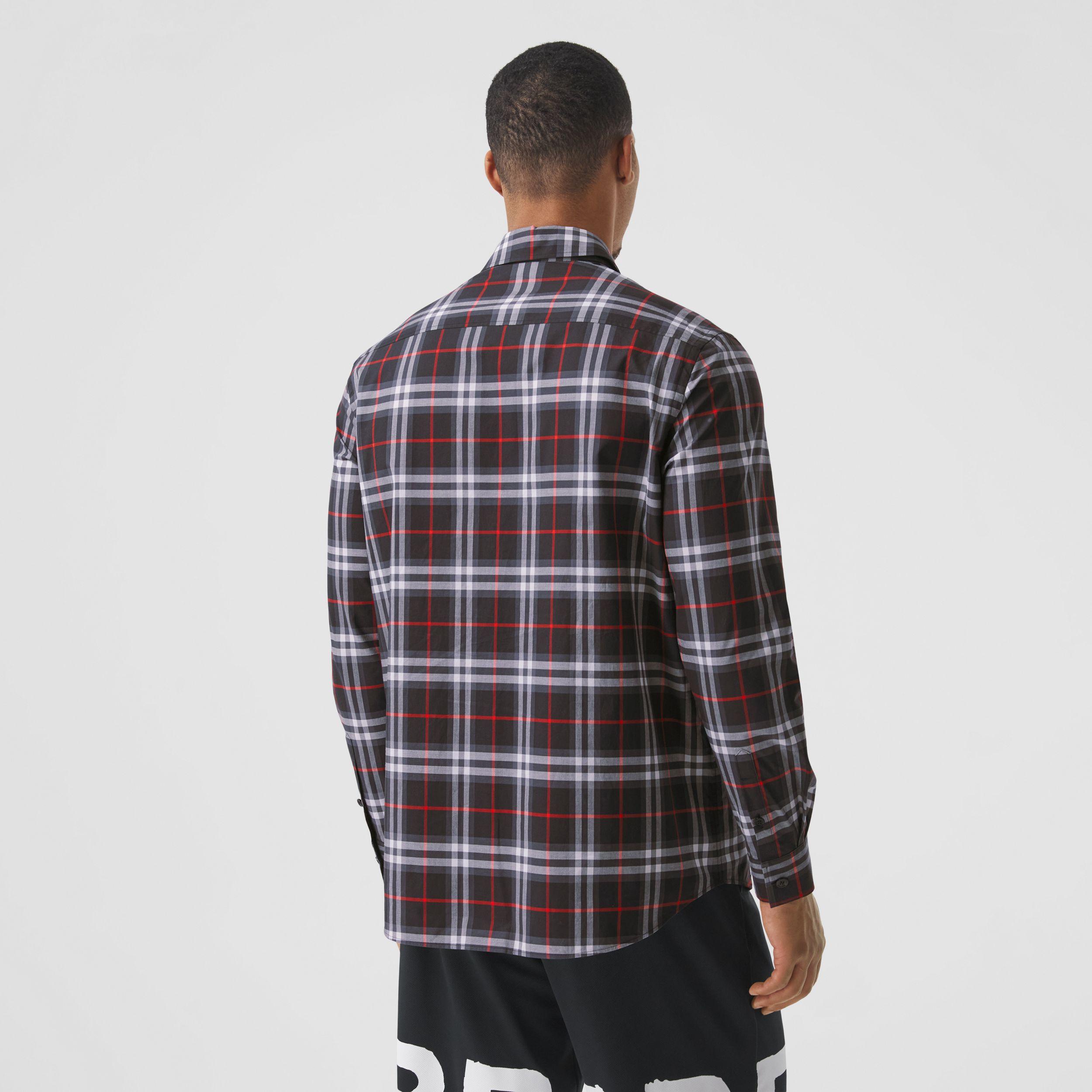 Love Print Vintage Check Cotton Shirt in Black - Men | Burberry - 3