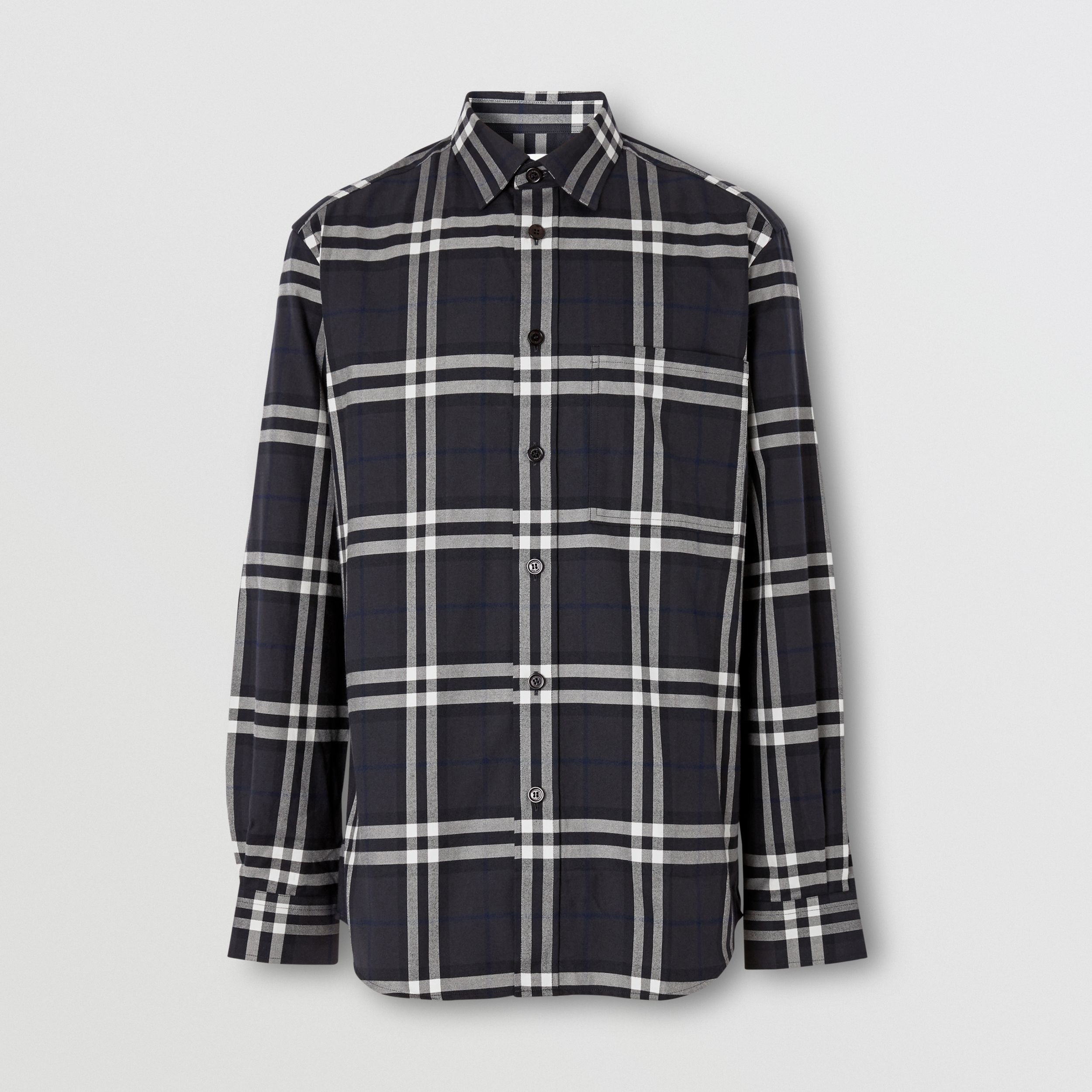 Vintage Check Cotton Flannel Shirt in Charcoal - Men | Burberry - 4