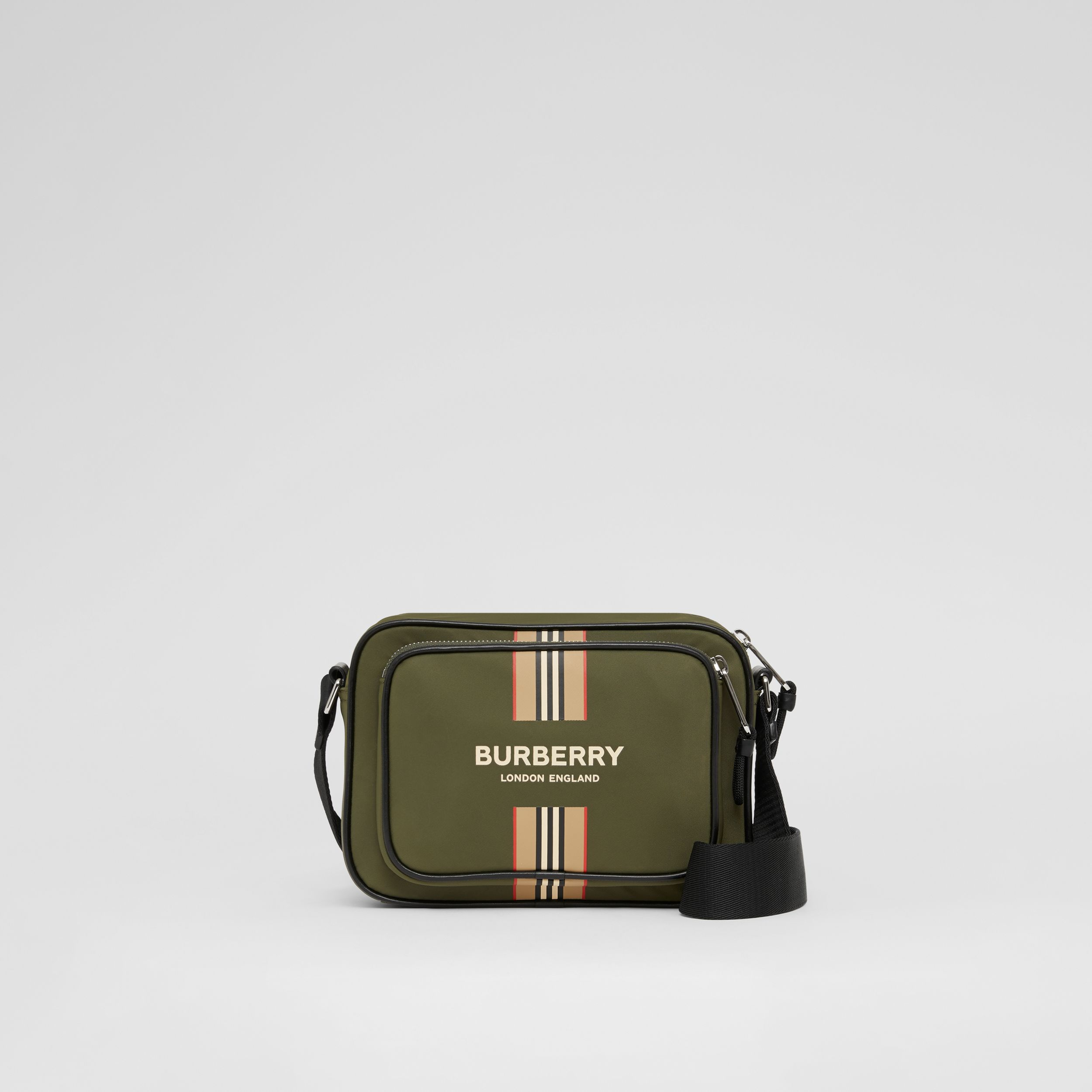 Logo and Icon Stripe Print ECONYL® Crossbody Bag in Dark Olive Green - Men | Burberry - 1