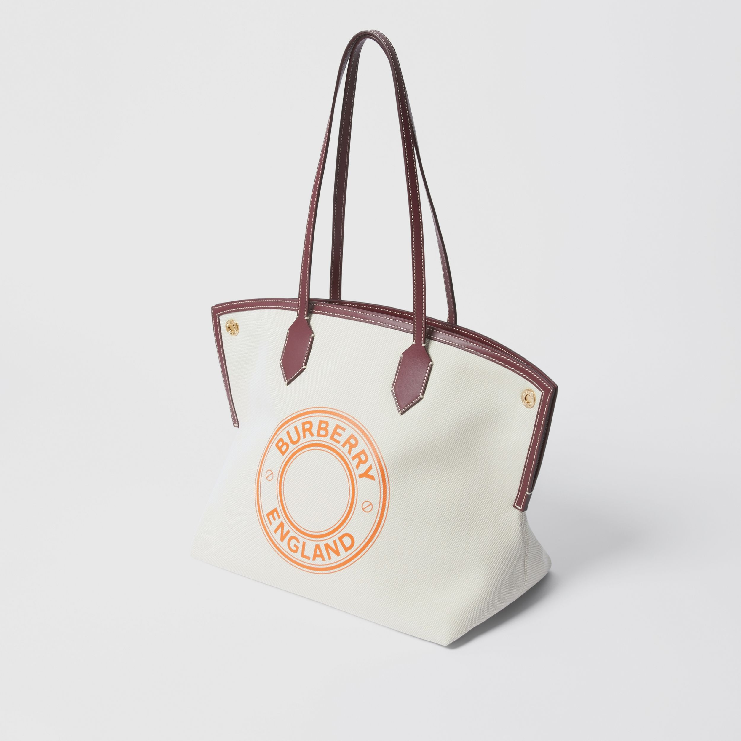 Medium Logo Graphic Cotton Canvas Society Tote in Natural/garnet/geranium - Women | Burberry Australia - 4