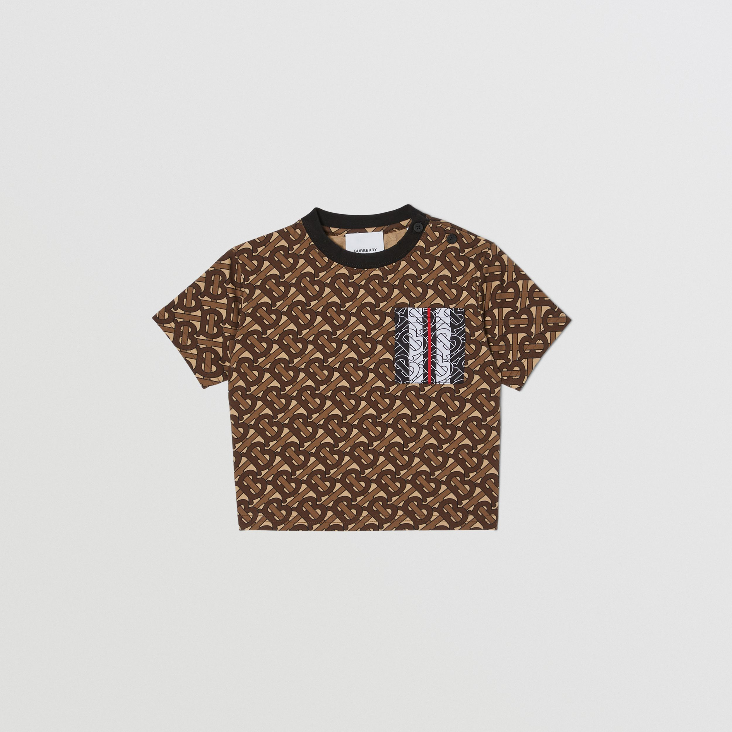 Monogram Stripe Print Cotton T-shirt in Bridle Brown - Children | Burberry - 1