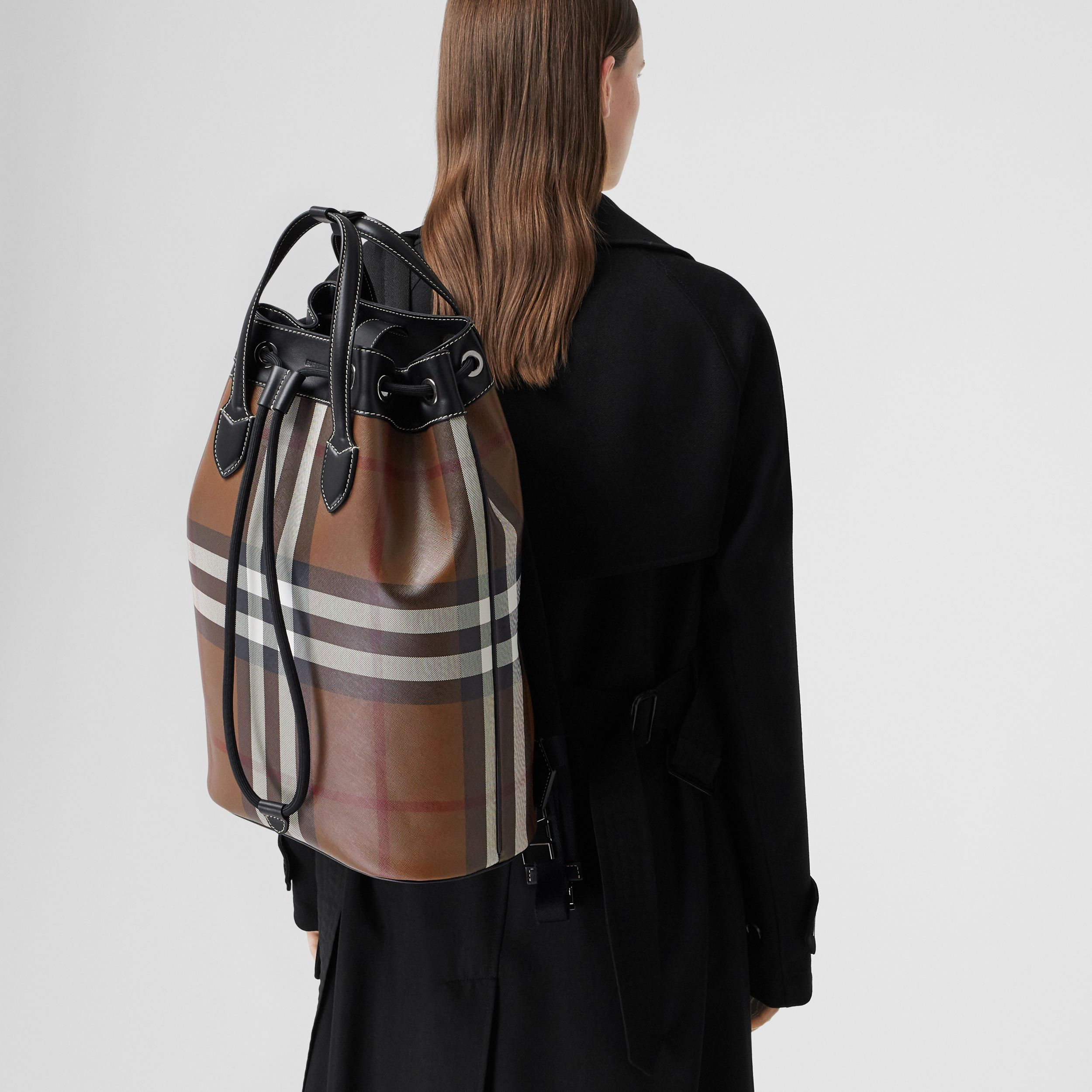 Check Print Leather Drawcord Backpack in Dark Birch Brown | Burberry - 3
