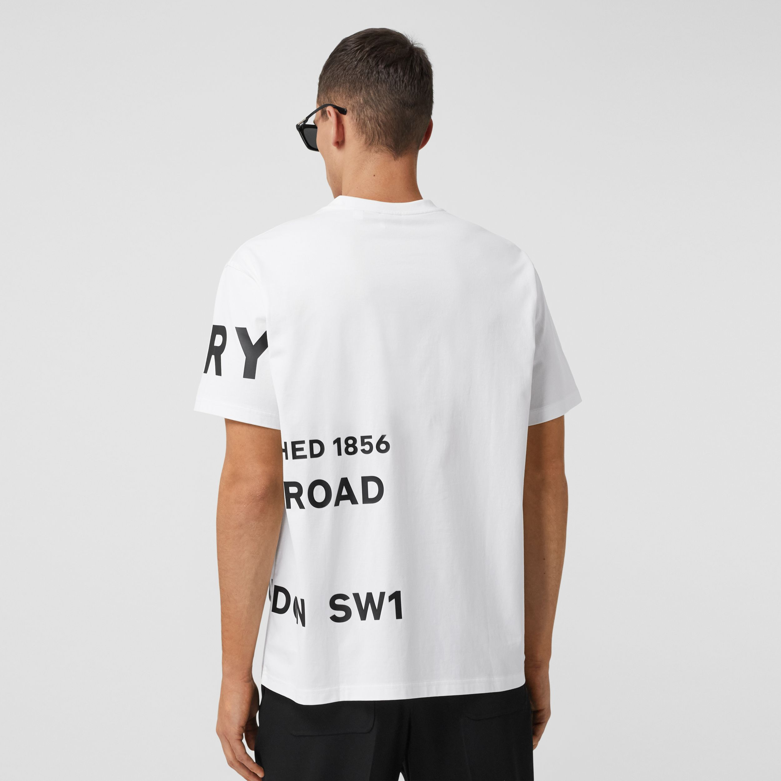 Horseferry Print Cotton Oversized T-shirt in White - Men | Burberry - 3