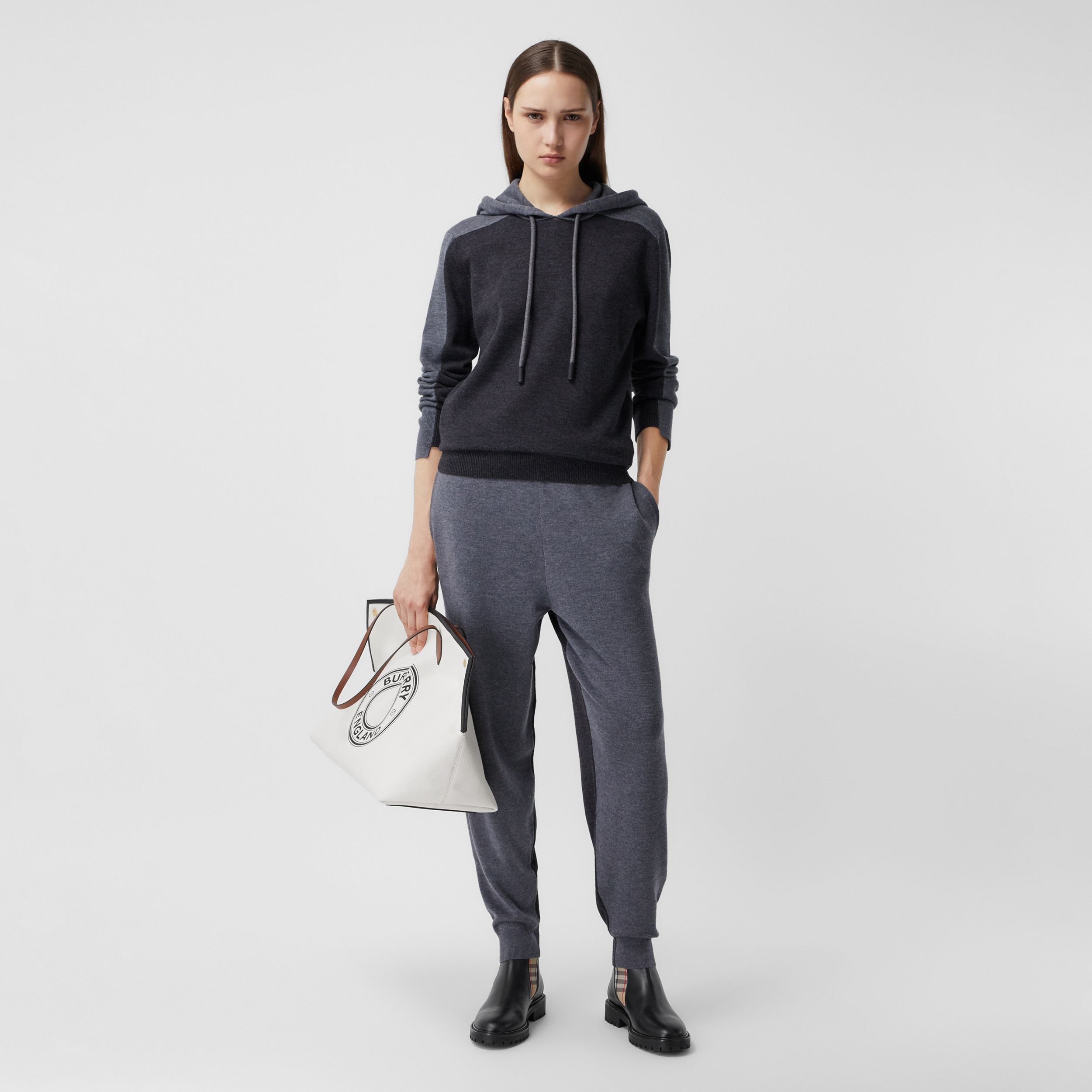 Two-tone Merino Wool Drawcord Jogging Pants in Charcoal Melange - Women | Burberry - 1