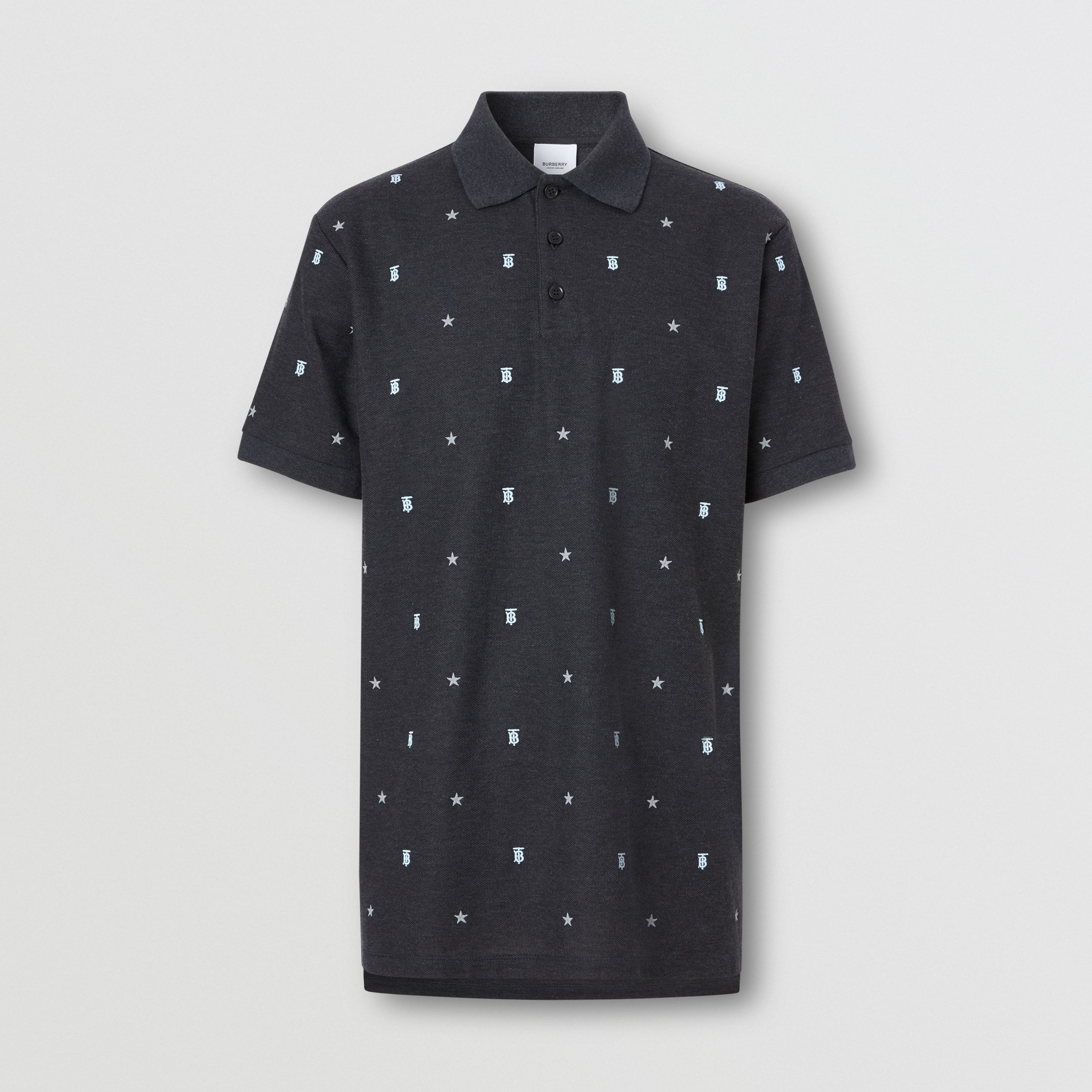 Star and Monogram Motif Cotton Piqué Polo Shirt in Charcoal Melange - Men | Burberry - 4