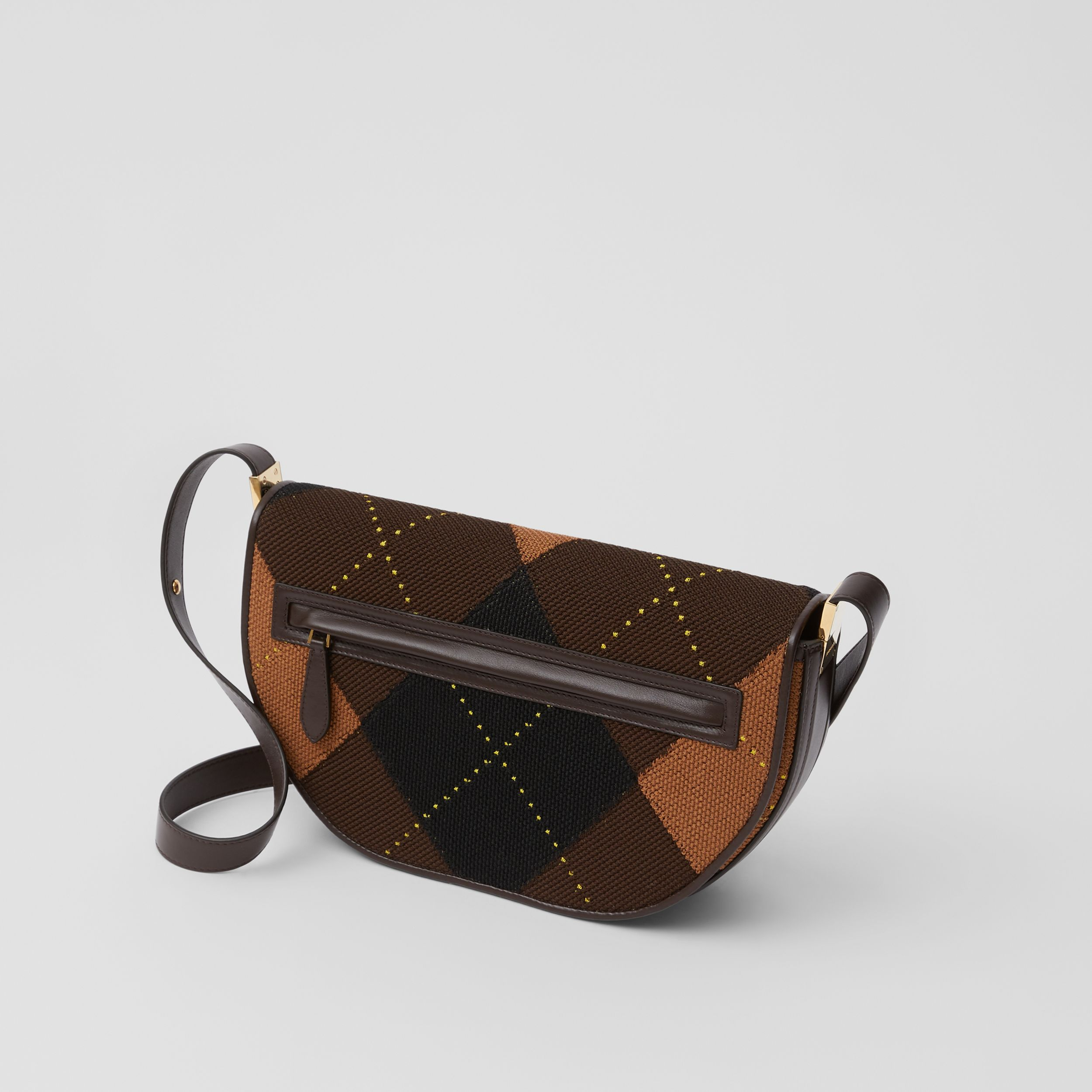 Medium Argyle Knit and Leather Olympia Bag in Dark Khaki - Women | Burberry United Kingdom - 3