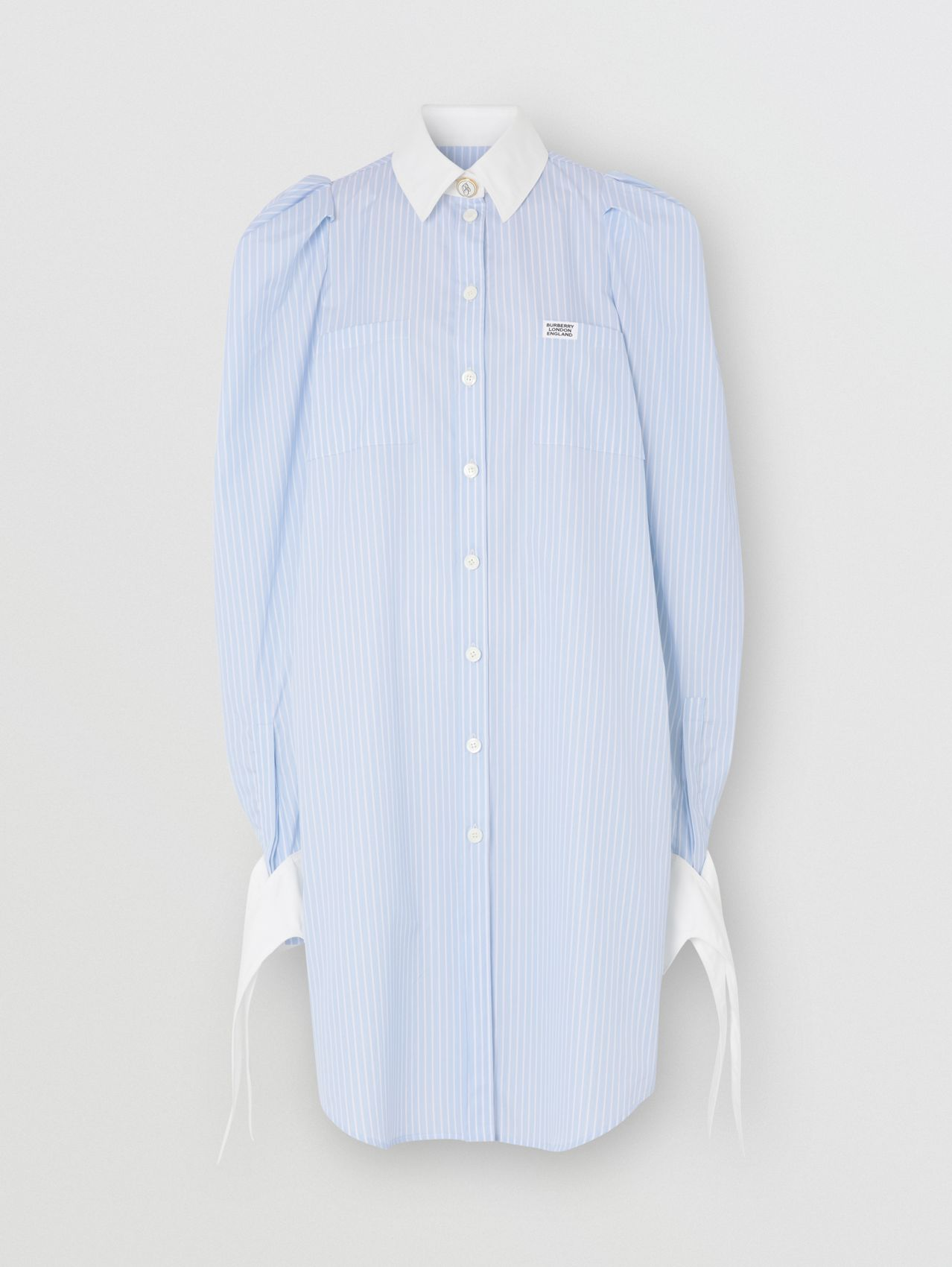 Striped Cotton Poplin Shirt Dress in Pale Blue