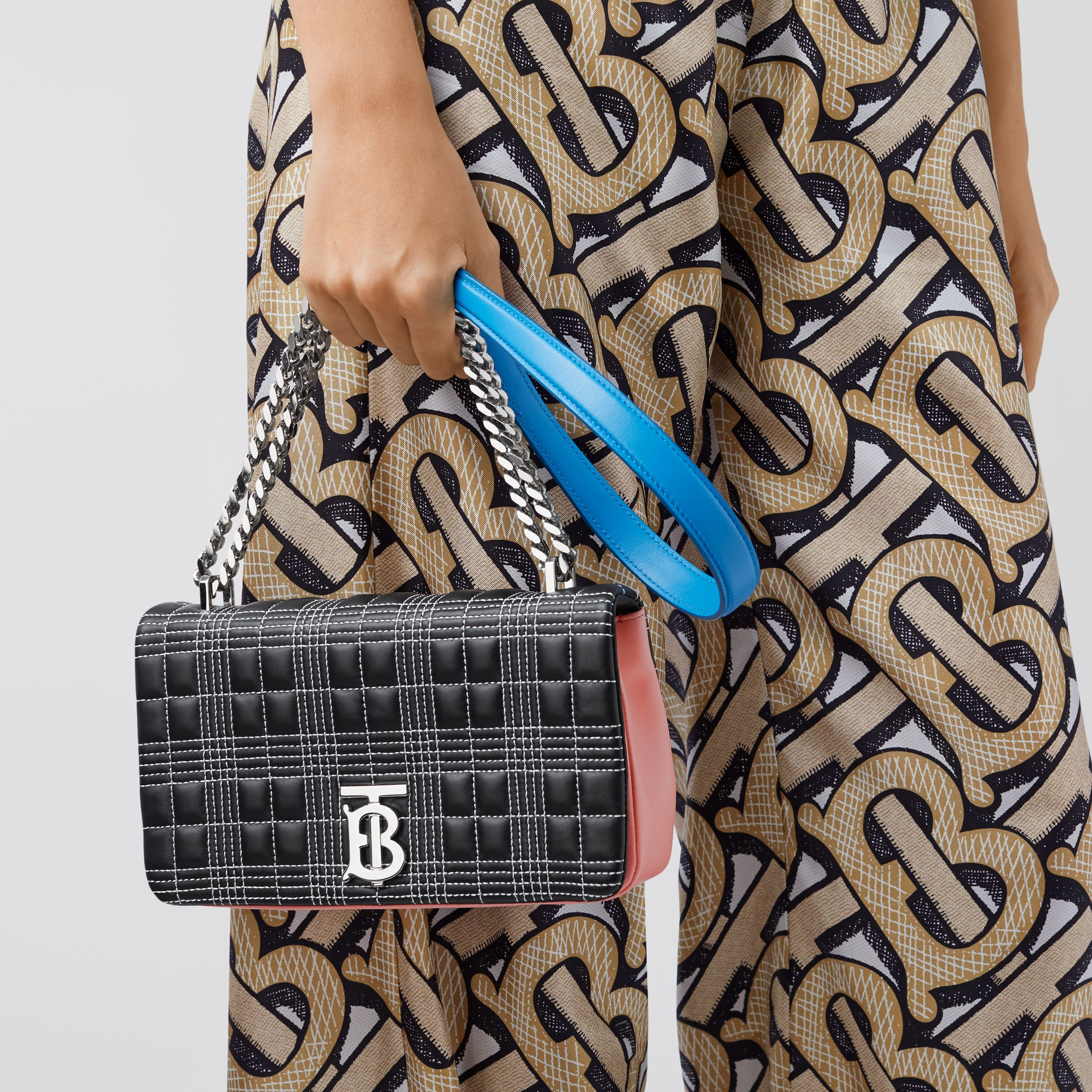 Small Quilted Tri-tone Lambskin Lola Bag in Black/pink/cyan Blue - Women | Burberry - 3