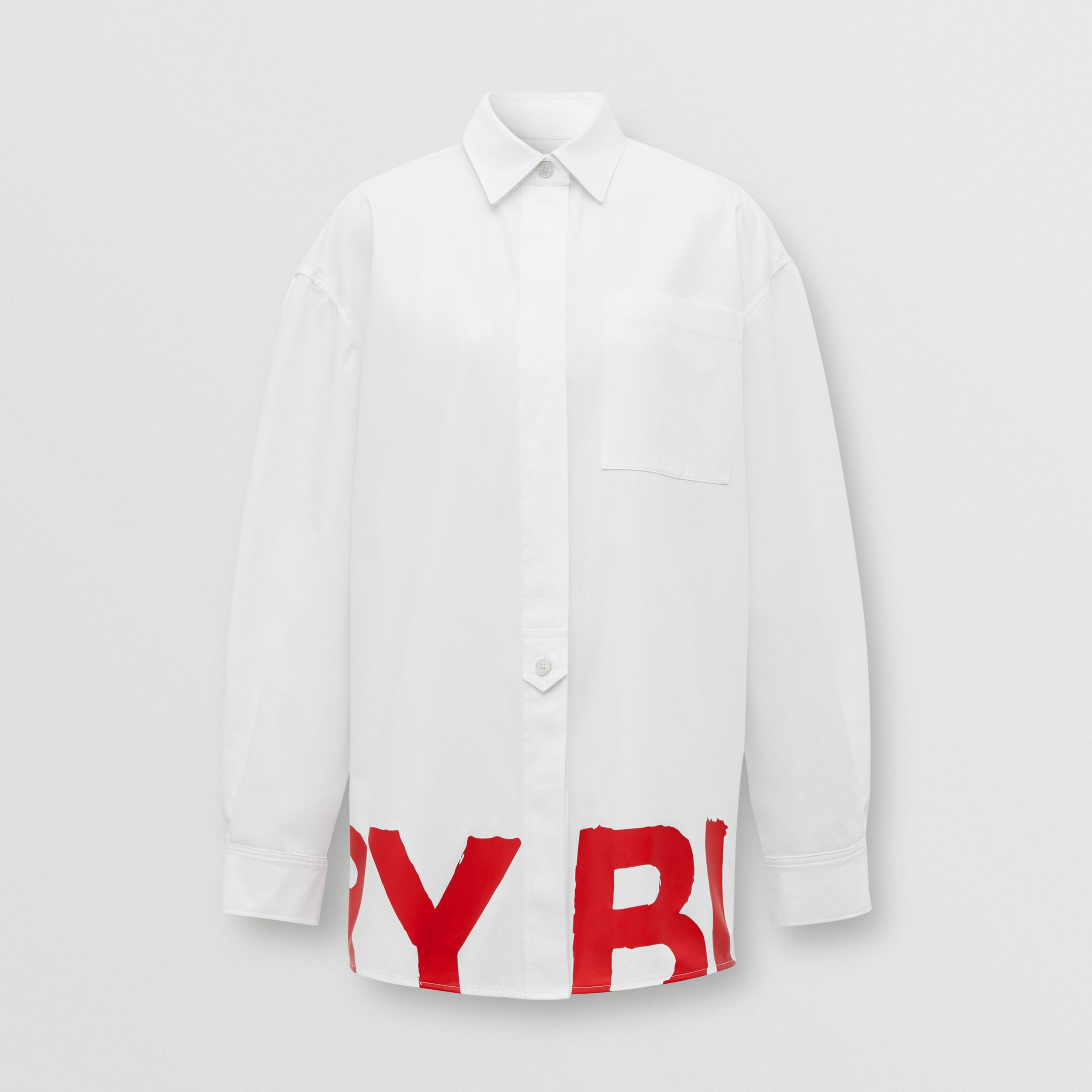 Logo Print Cotton Oversized Shirt in White - Women | Burberry - 4