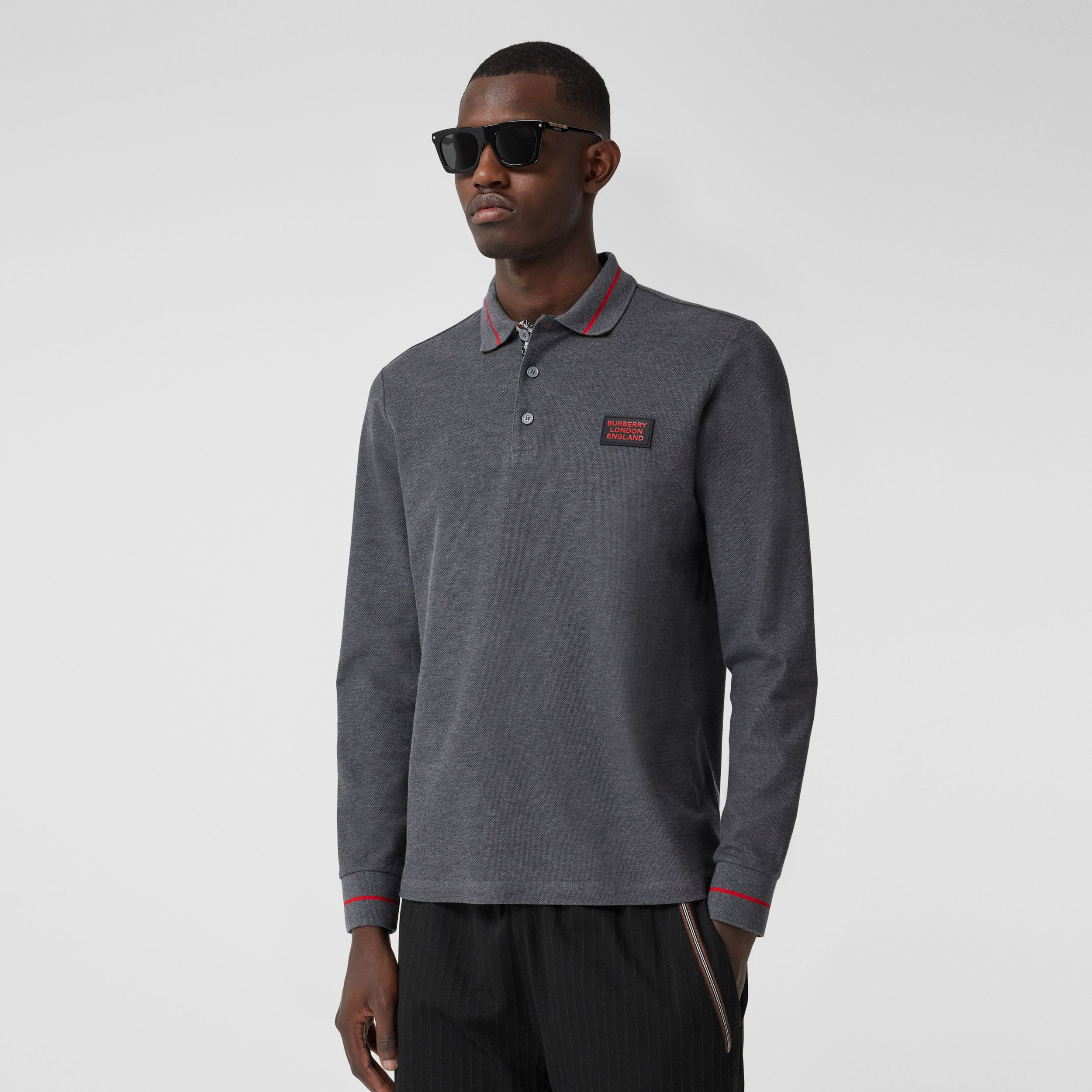 Long-sleeve Logo Appliqué Cotton Polo Shirt in Mid Grey Melange - Men | Burberry Canada - 1