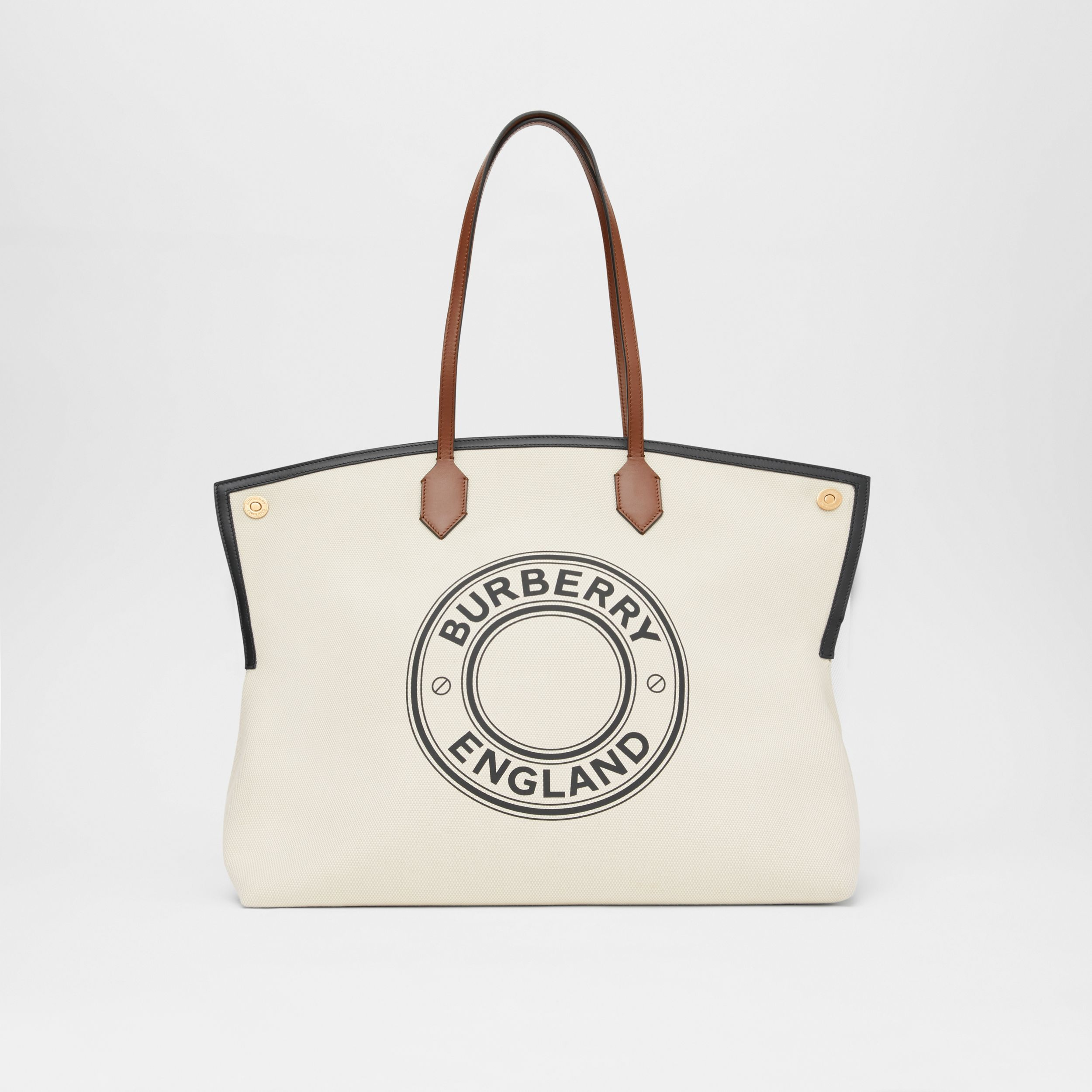 Large Logo Graphic Cotton Canvas Society Tote in Natural - Women | Burberry - 1