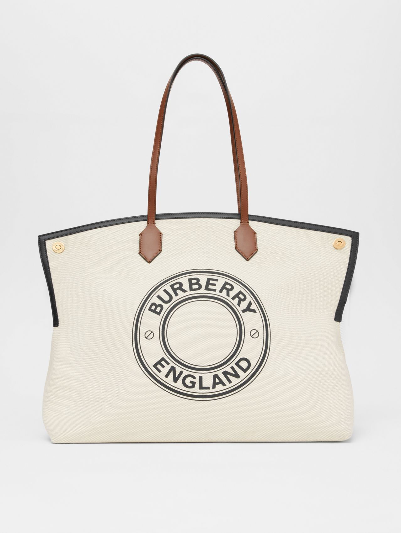 Large Logo Graphic Cotton Canvas Society Tote in Natural